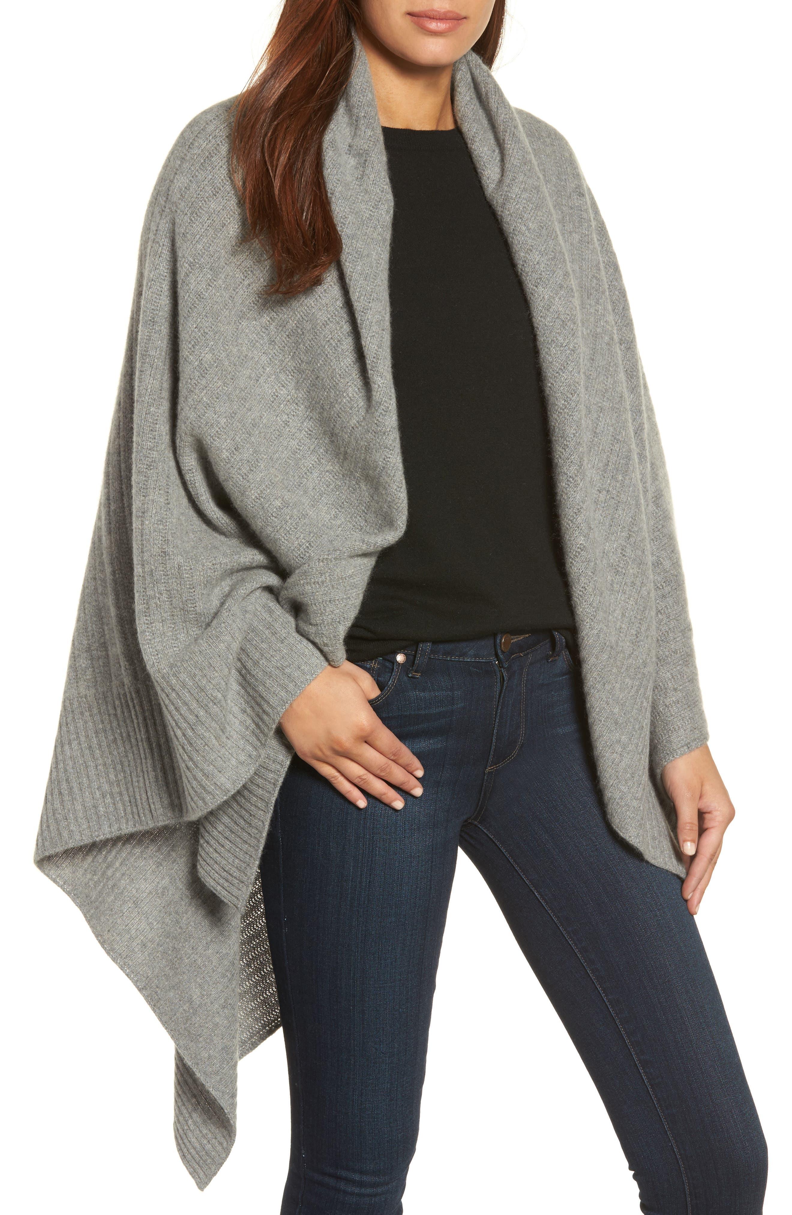 Cashmere Wrap,                         Main,                         color, Grey Med Htr