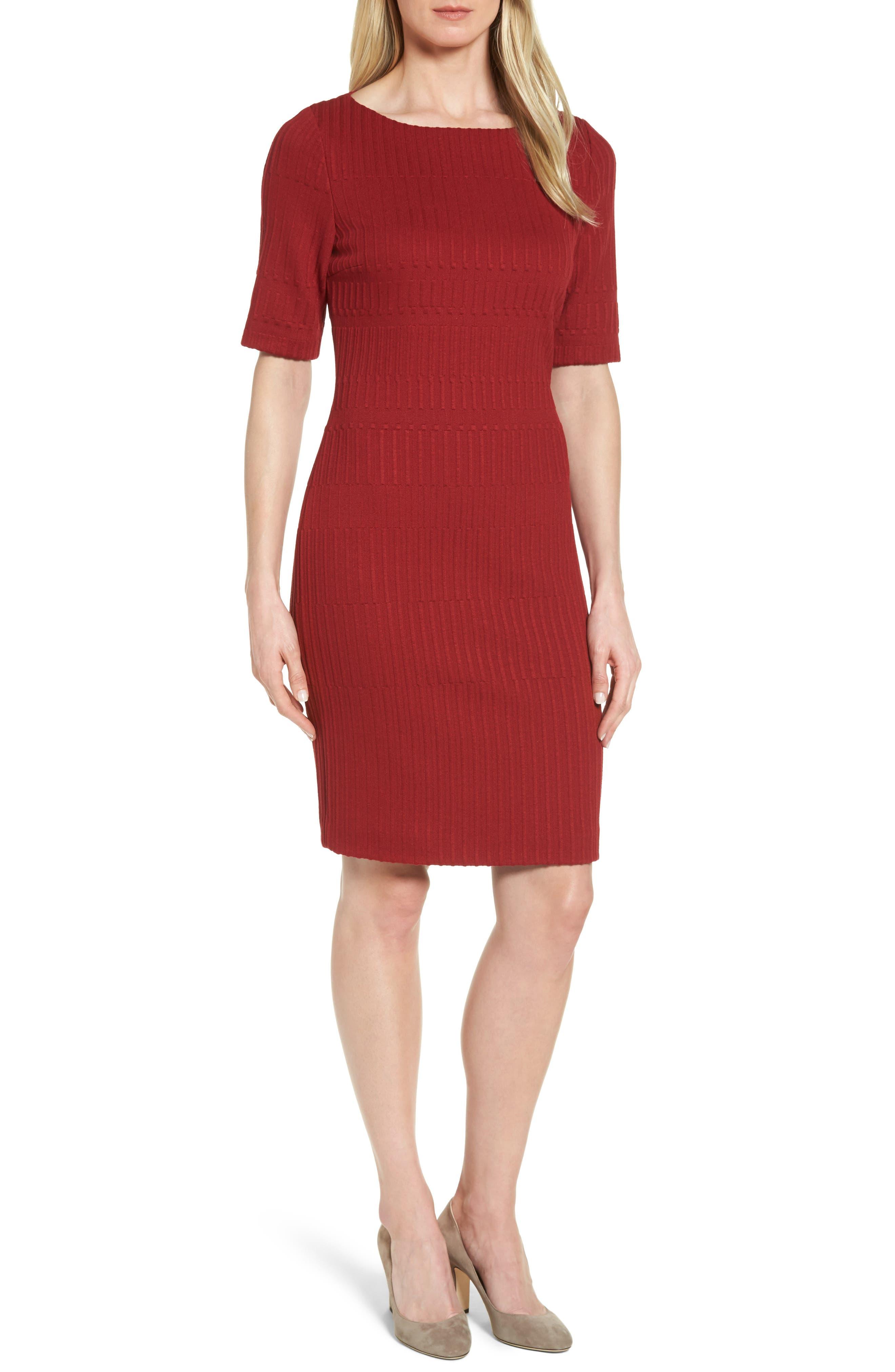Hadea Knit Sheath Dress,                         Main,                         color, Pomegranate