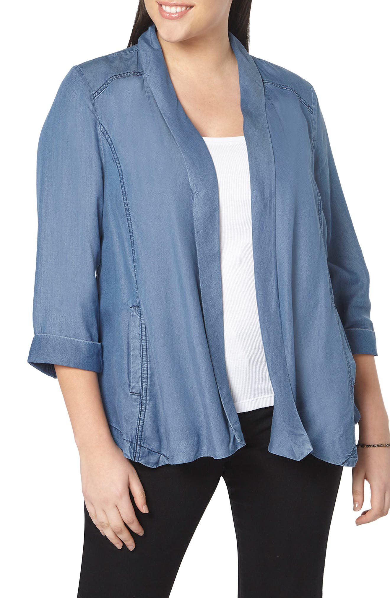 Evans Chambray Open Front Jacket (Plus Size)