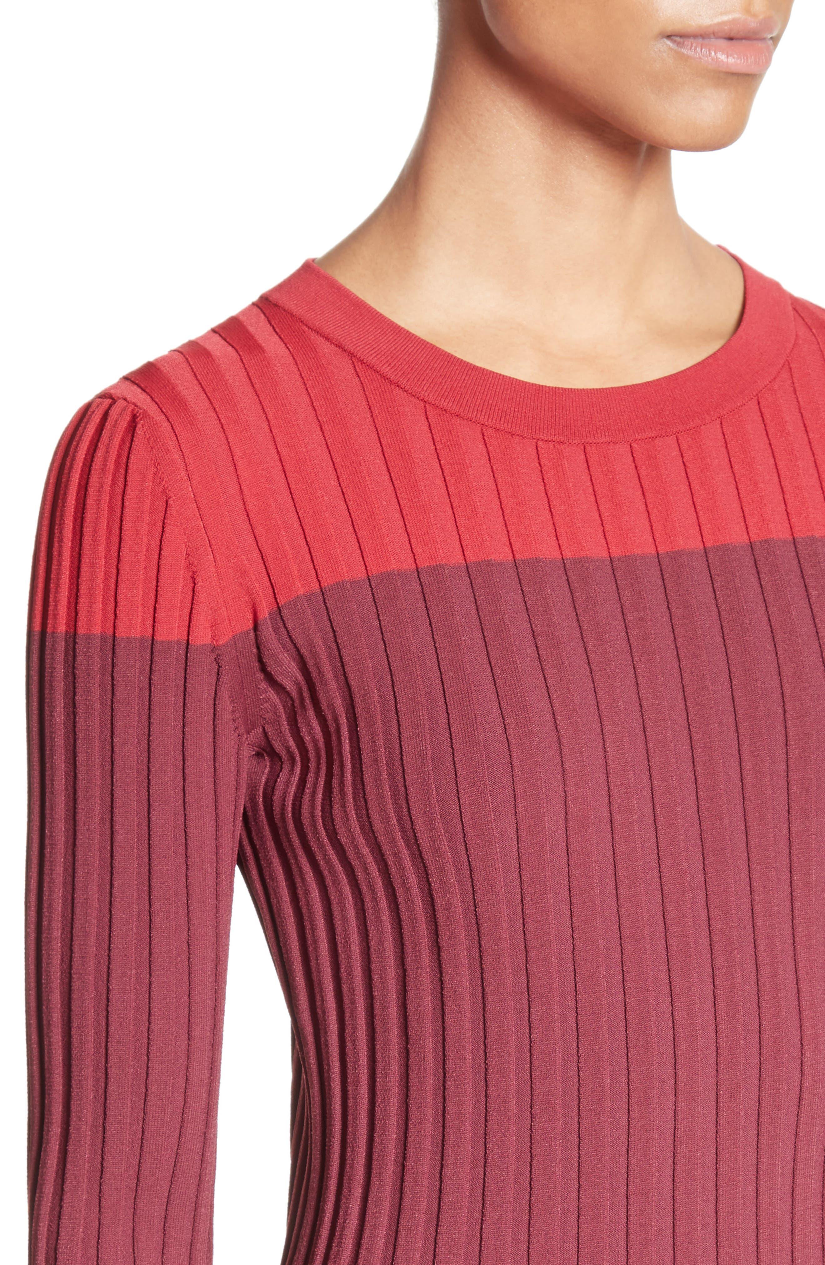 Leila Colorblock Knit Sweater,                             Alternate thumbnail 6, color,                             Port Multi