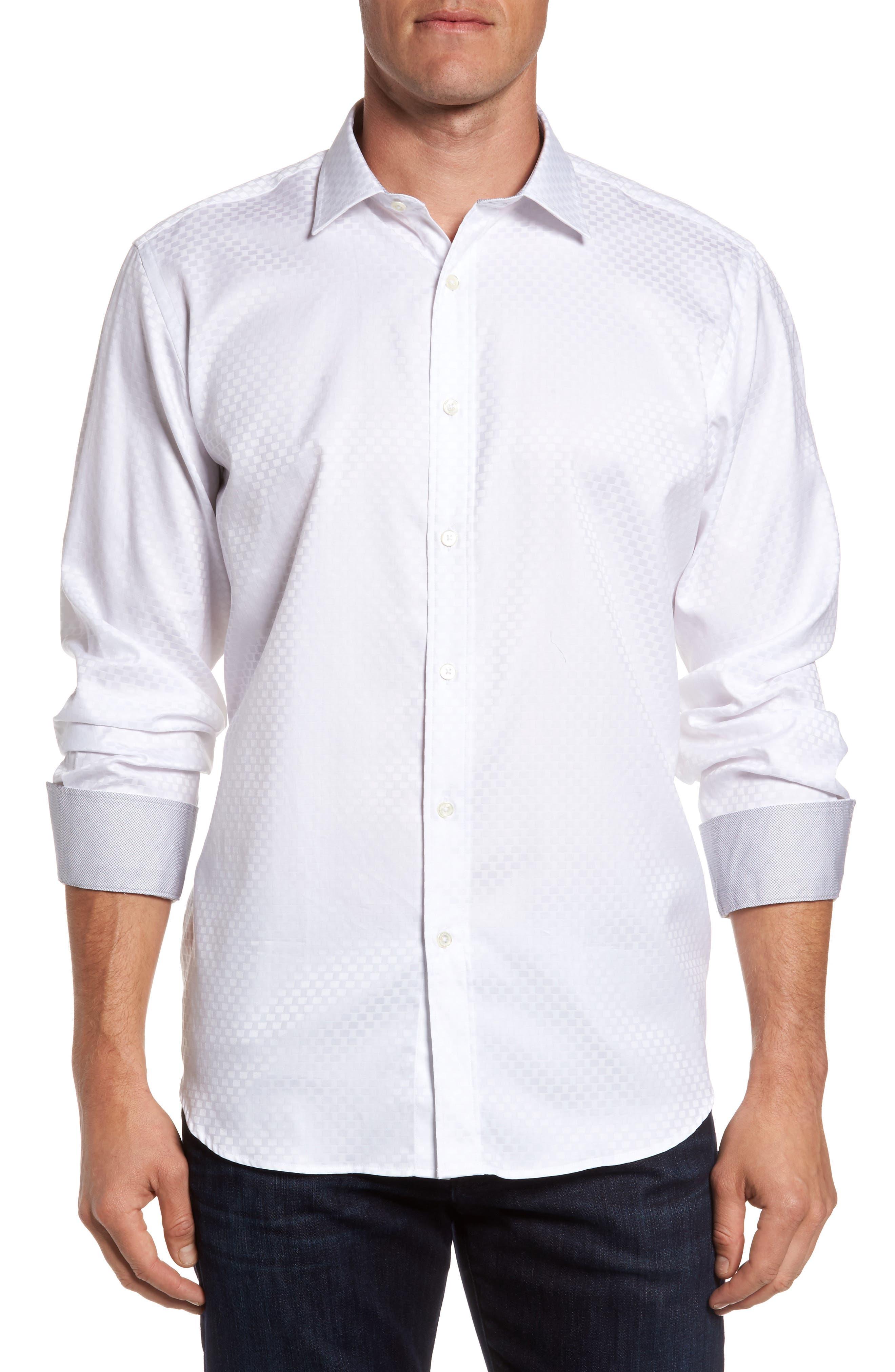 Classic Fit Print Sport Shirt,                         Main,                         color, White