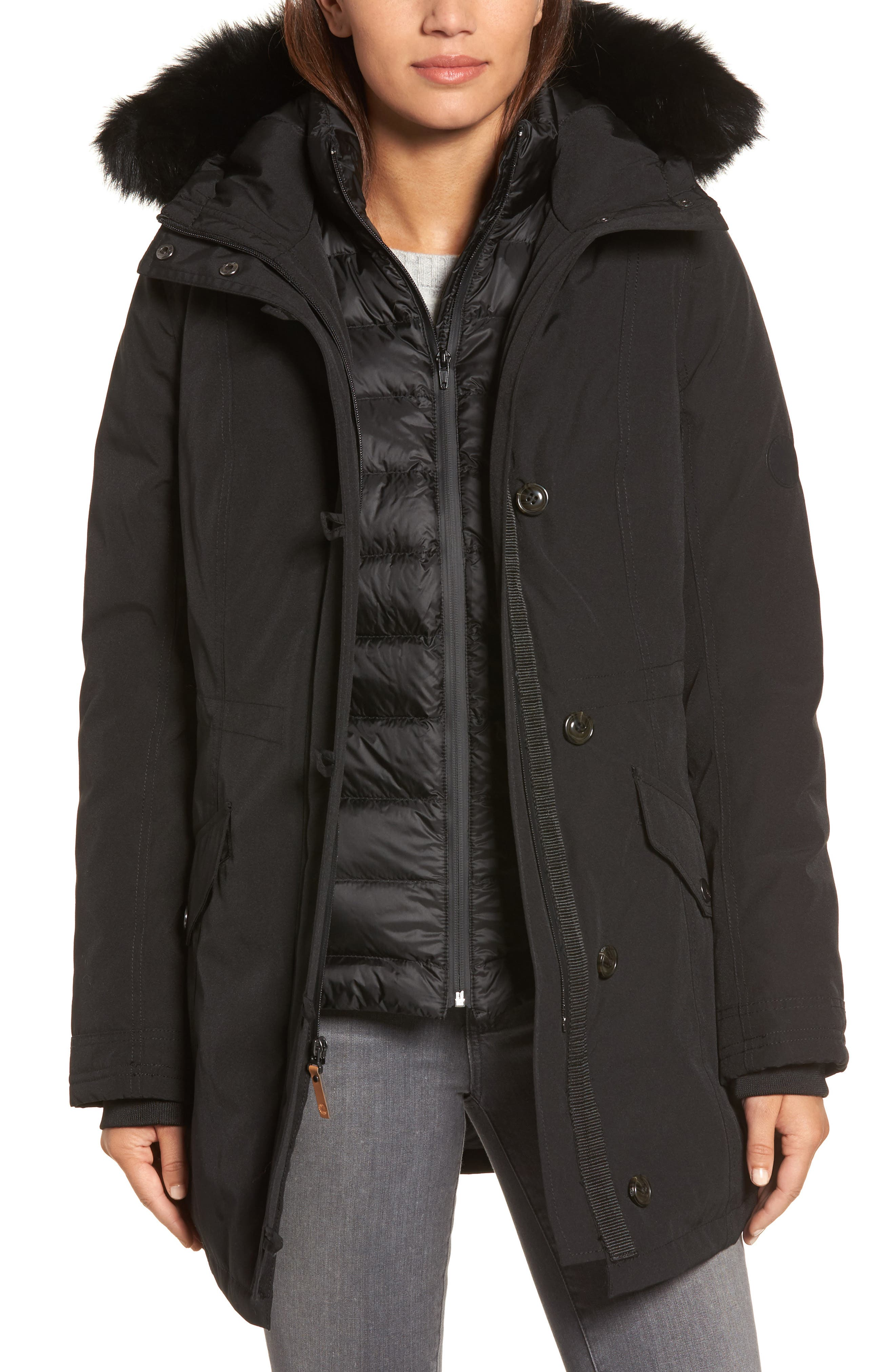UGG® Waterproof Down Parka with Genuine Shearling Trim