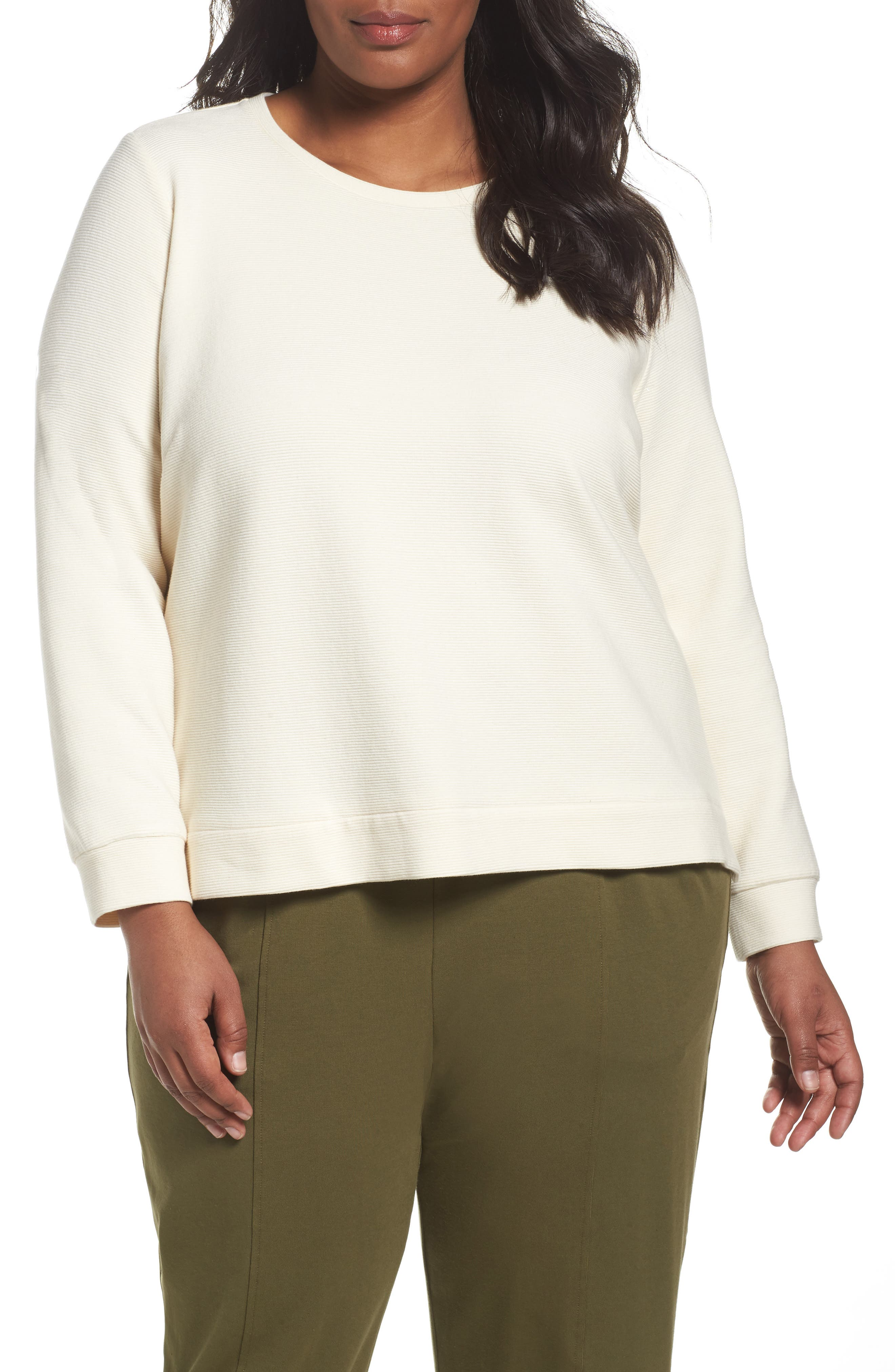 Eileen Fisher Stripe Knit Cotton Blend Pullover (Plus Size)