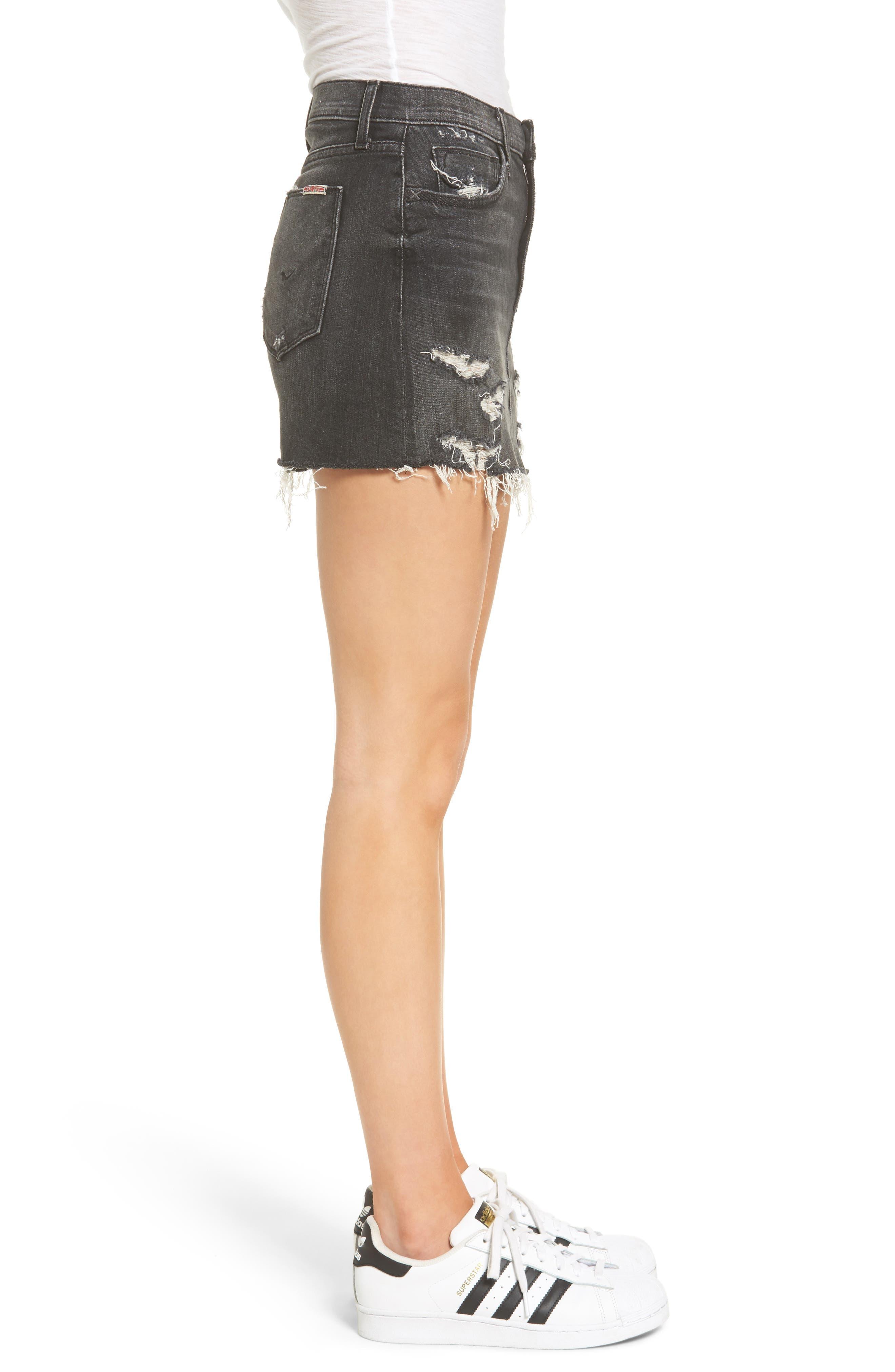 Hudson Vivid Cutoff Denim Miniskirt,                             Alternate thumbnail 3, color,                             Pretender
