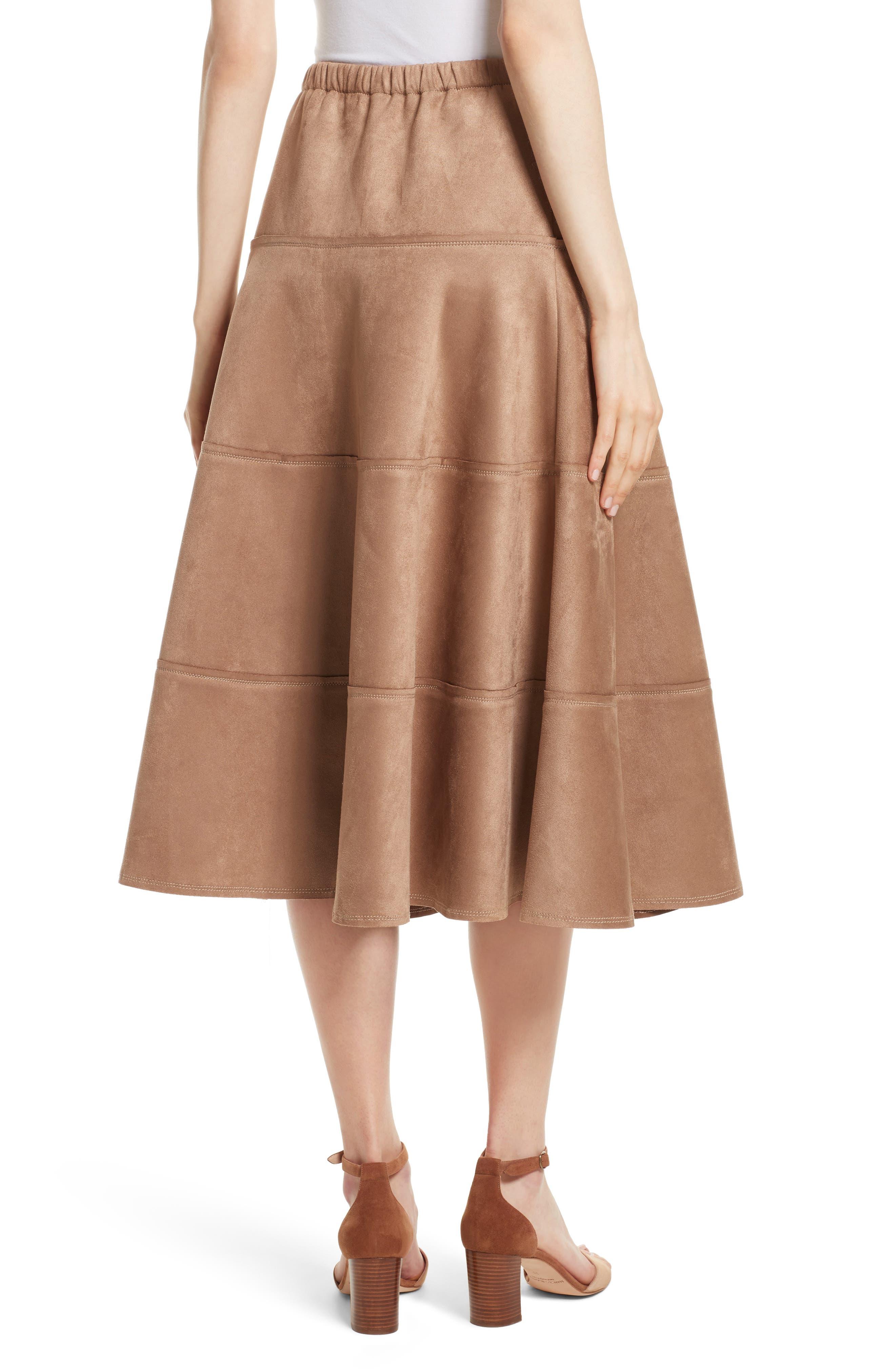 Metallic Midi Skirt,                             Alternate thumbnail 2, color,                             Dark Sand
