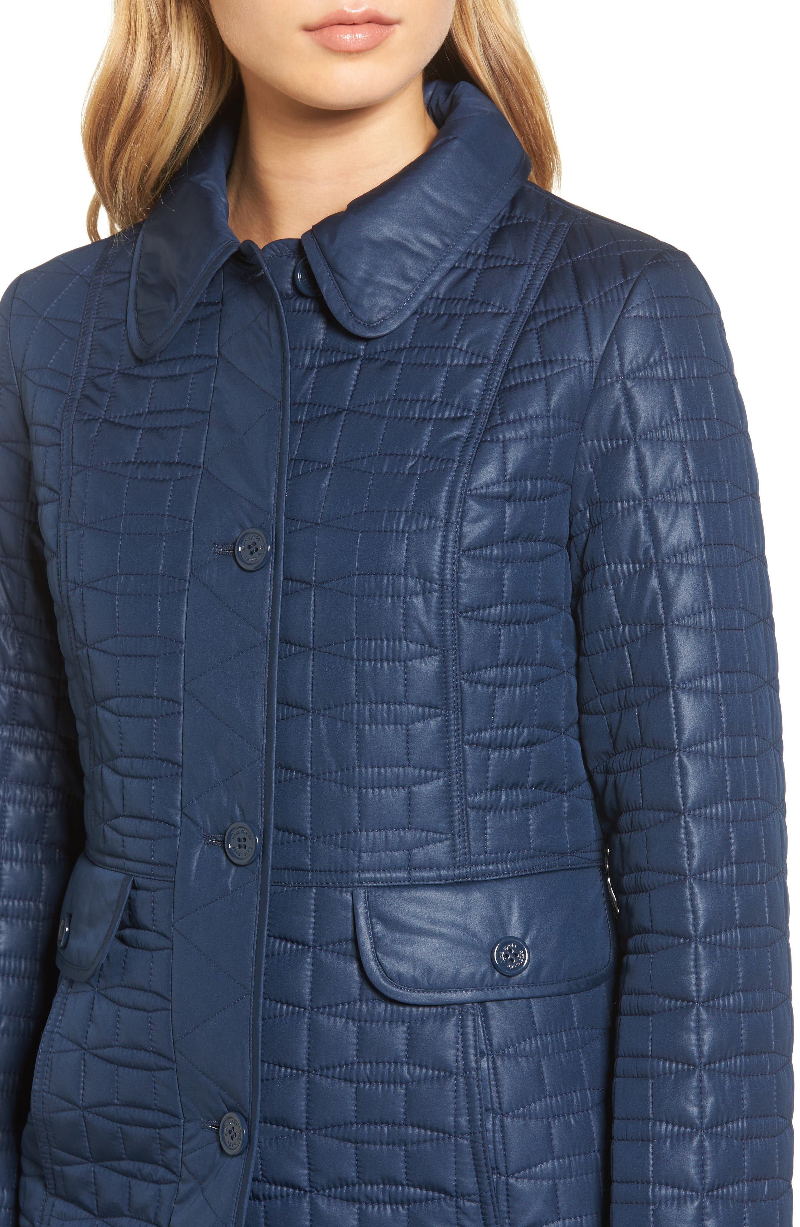 water resistant quilted coat,                             Alternate thumbnail 4, color,                             Rich Navy