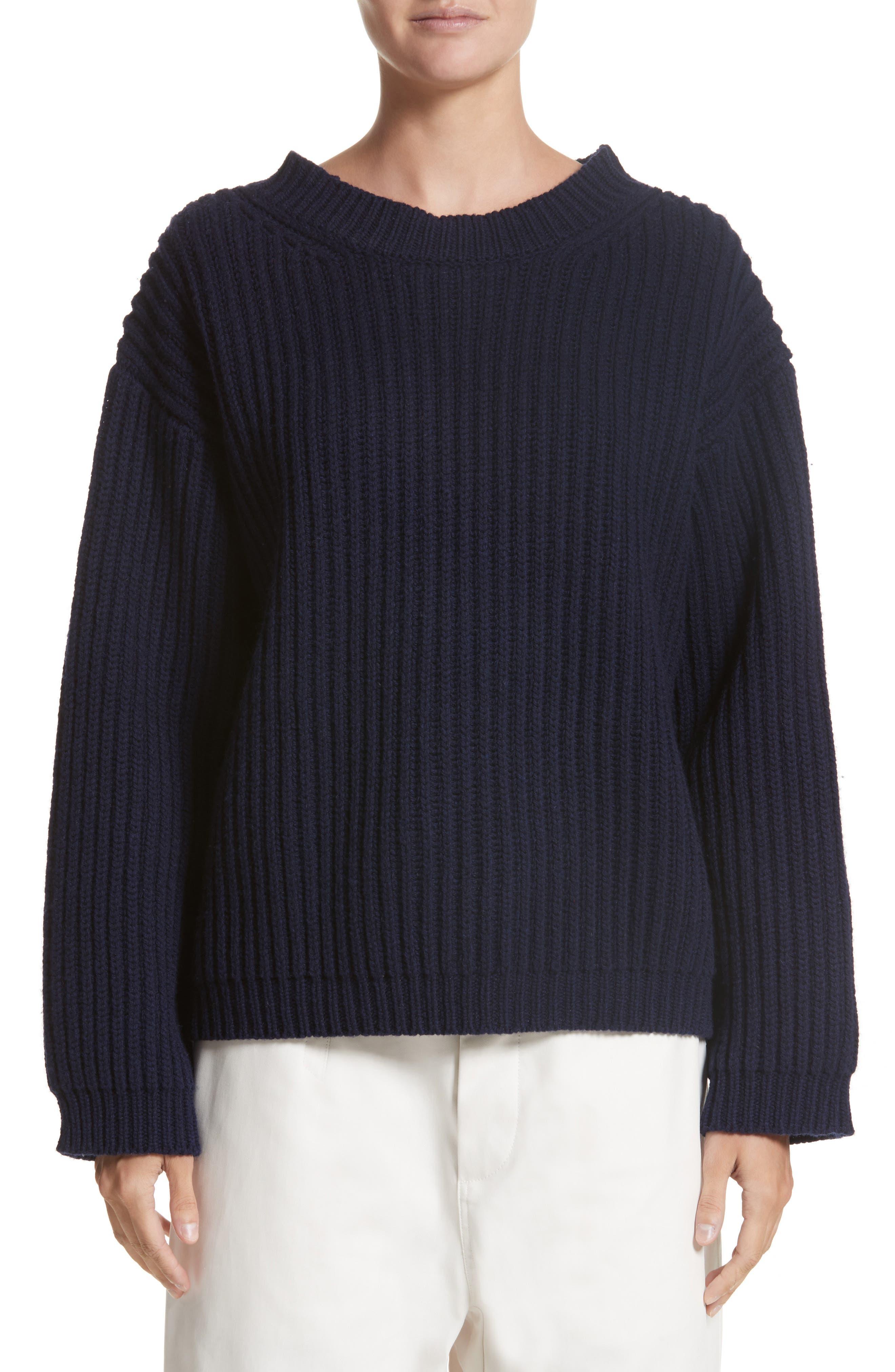Crop Wool Sweater,                         Main,                         color, Navy