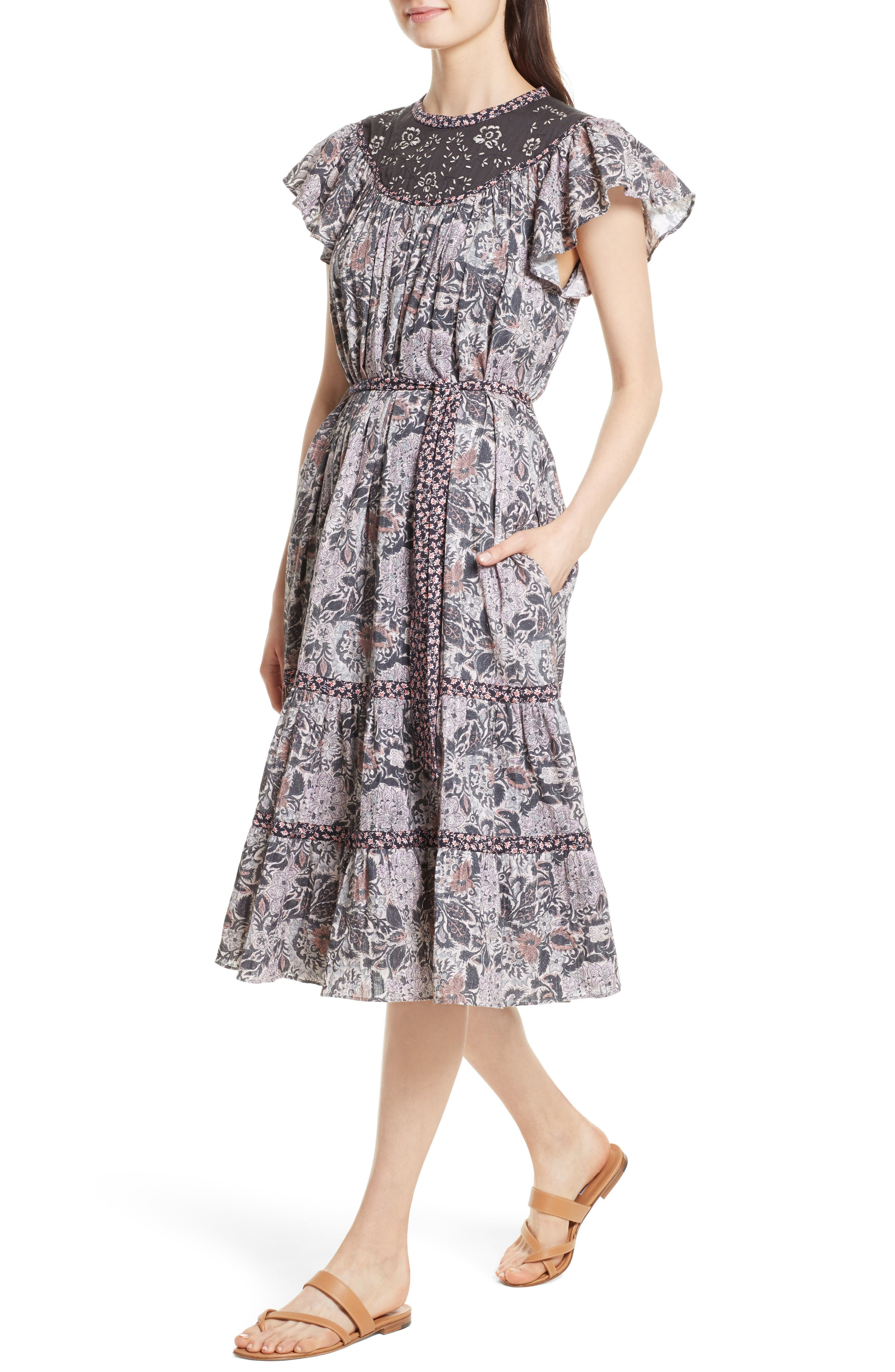 Indochine Embroidered Floral Dress,                             Alternate thumbnail 4, color,                             Washed Black Combo