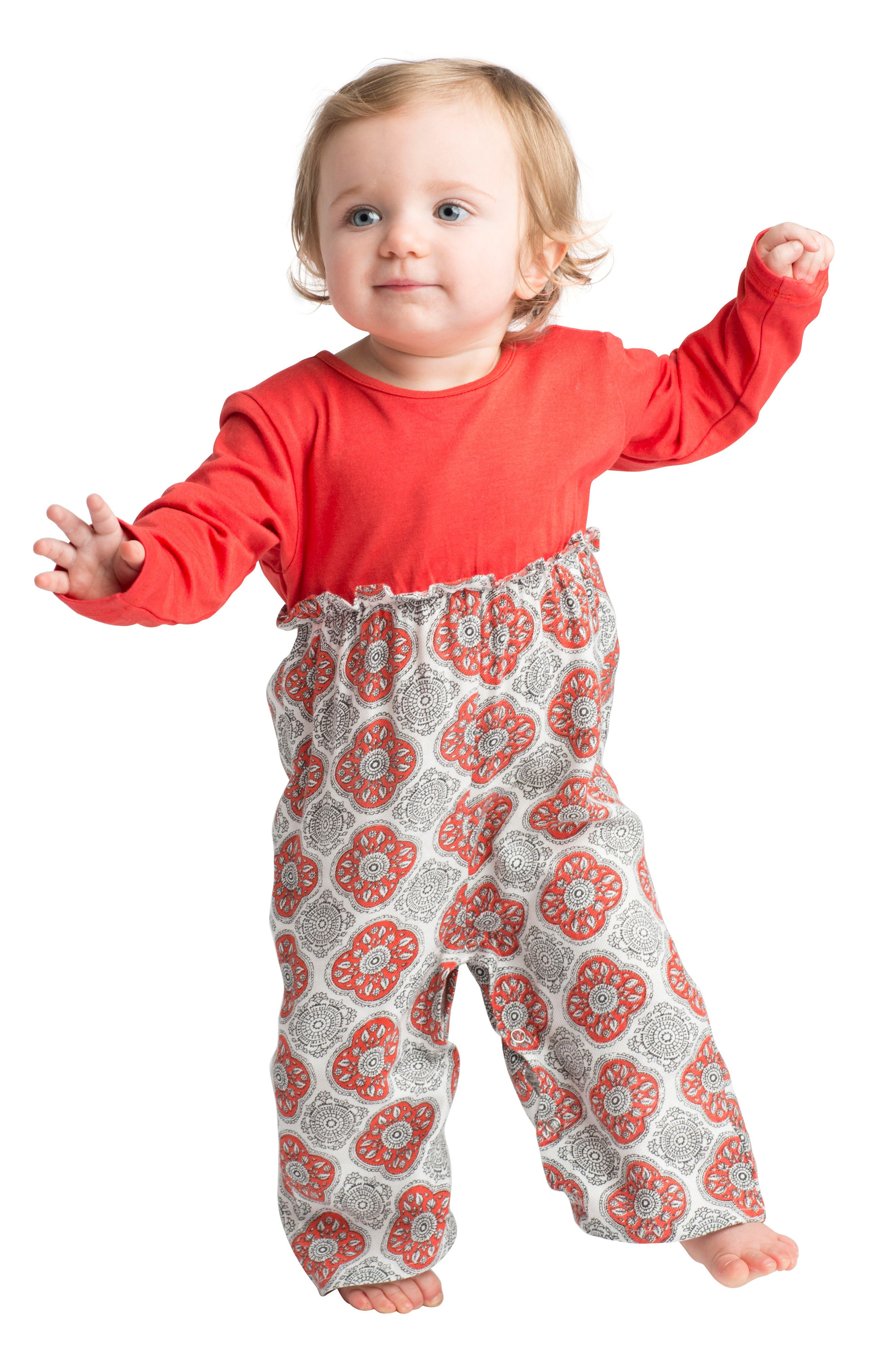 Alternate Image 2  - Masalababy Chelsea Romper (Baby Girls)