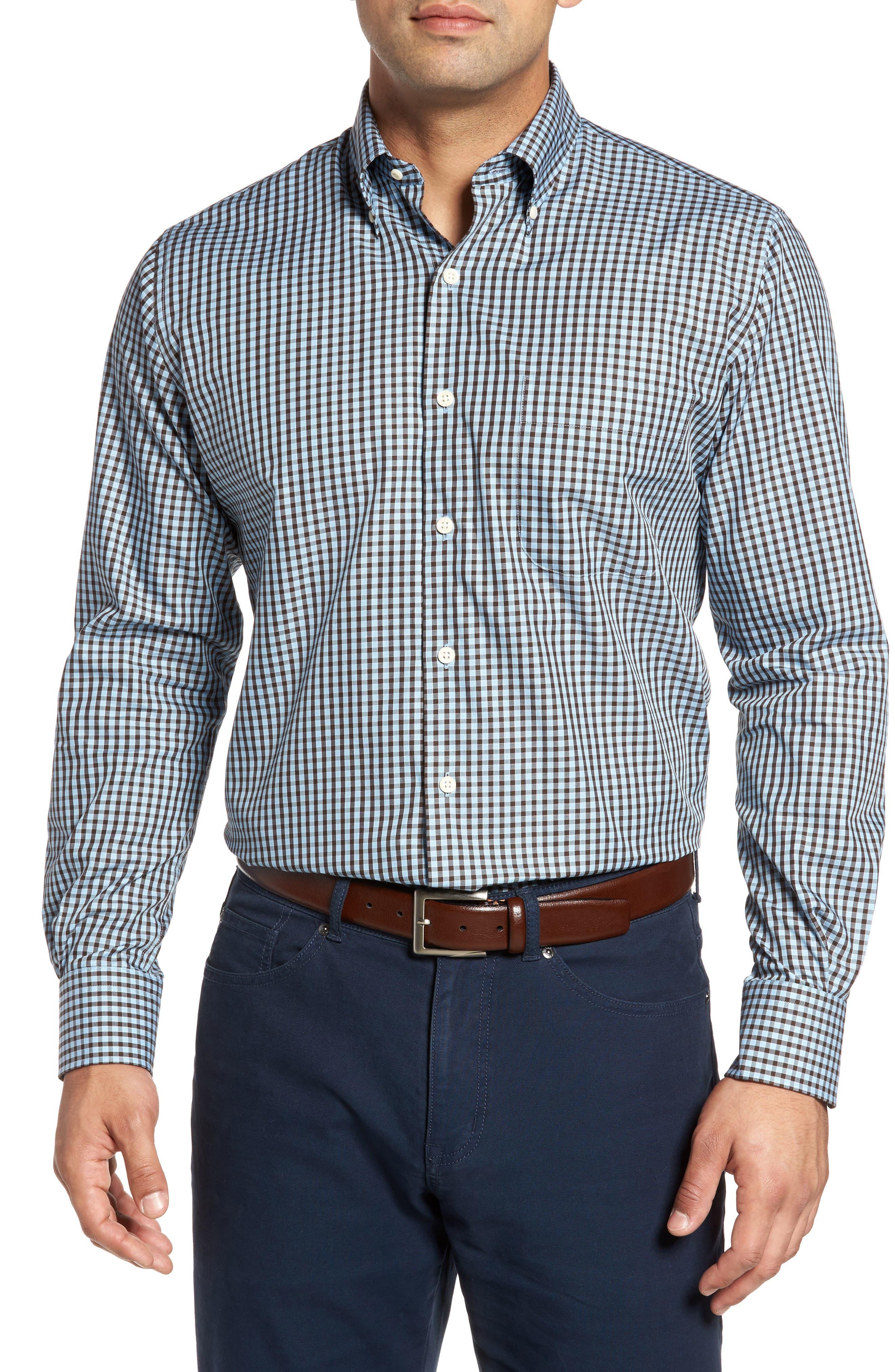 Midwinter Gingham Regular Fit Sport Shirt,                         Main,                         color, Axis Blue