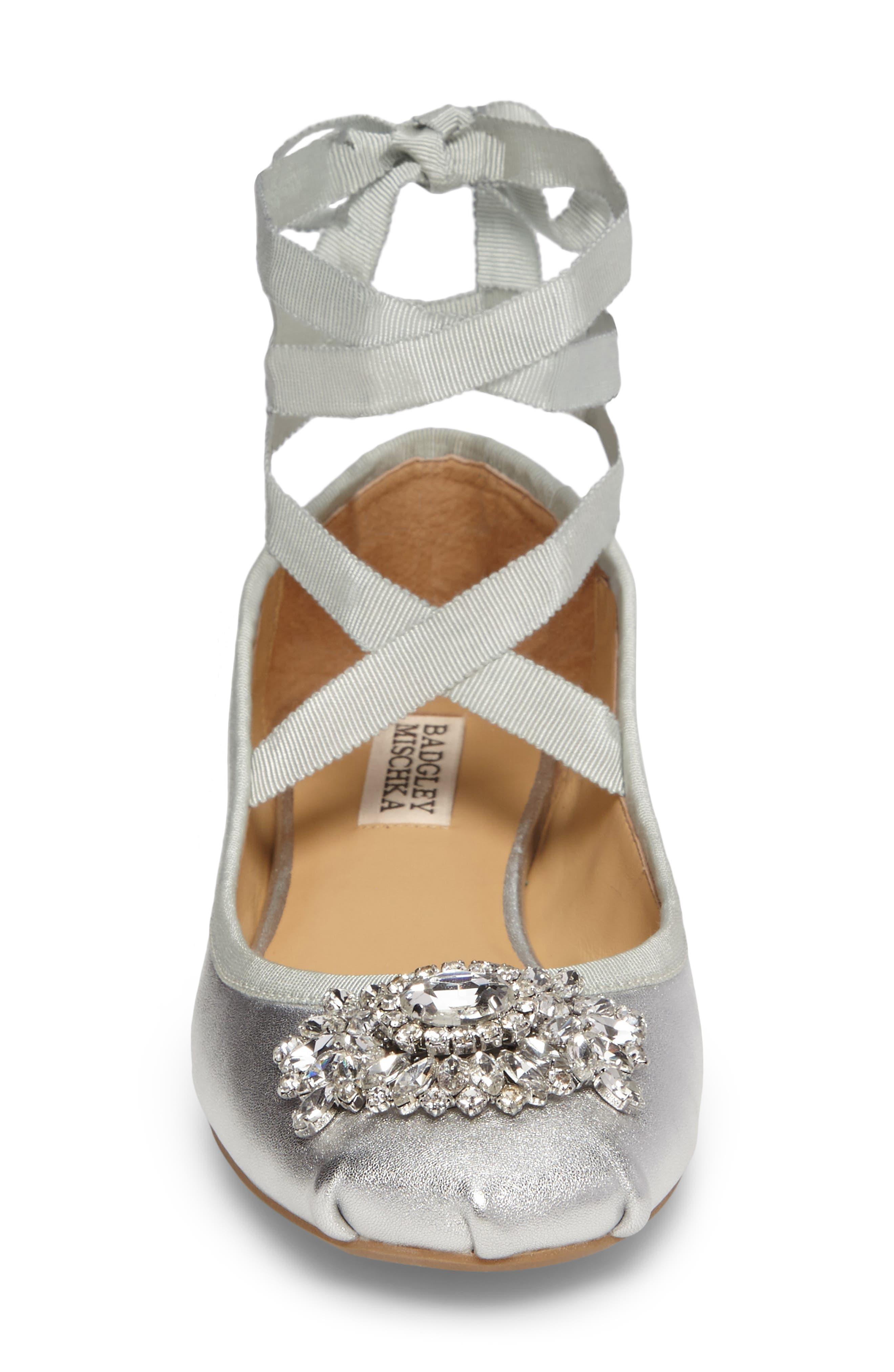 Alternate Image 5  - Badgley Mischka Karter II Embellished Ankle Wrap Ballet Flat (Women)