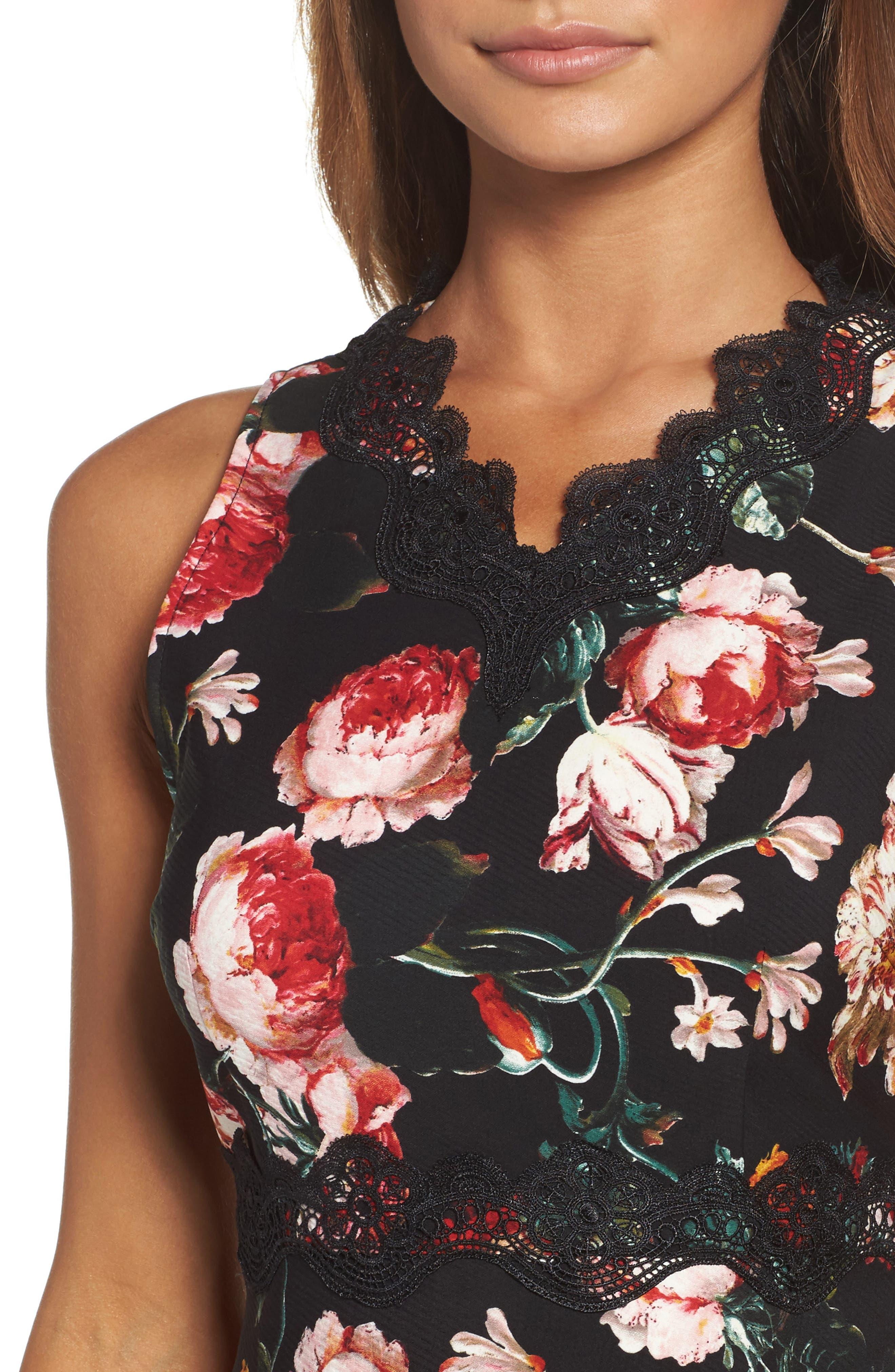 Lace Fit & Flare Dress,                             Alternate thumbnail 4, color,                             Black Foxie Floral