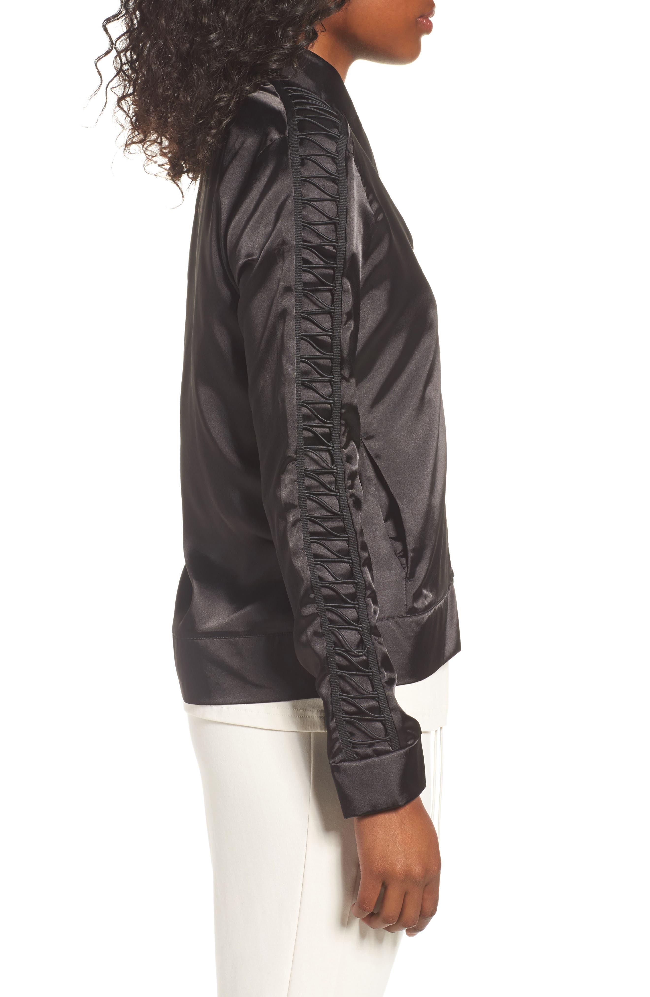 Satin Track Jacket,                             Alternate thumbnail 3, color,                             Puma Black