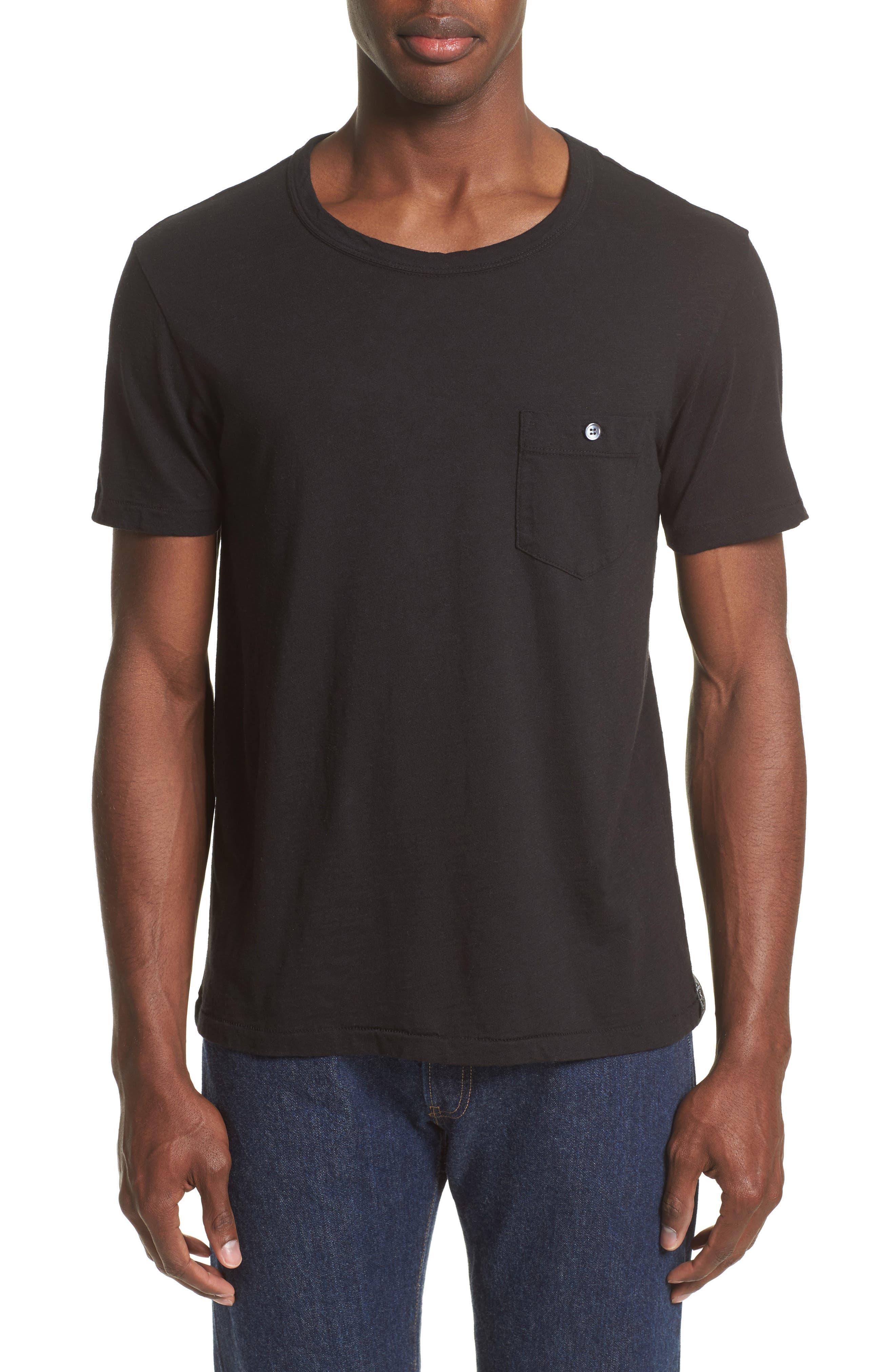 'Classic' Pocket T-Shirt,                         Main,                         color, Jet Black