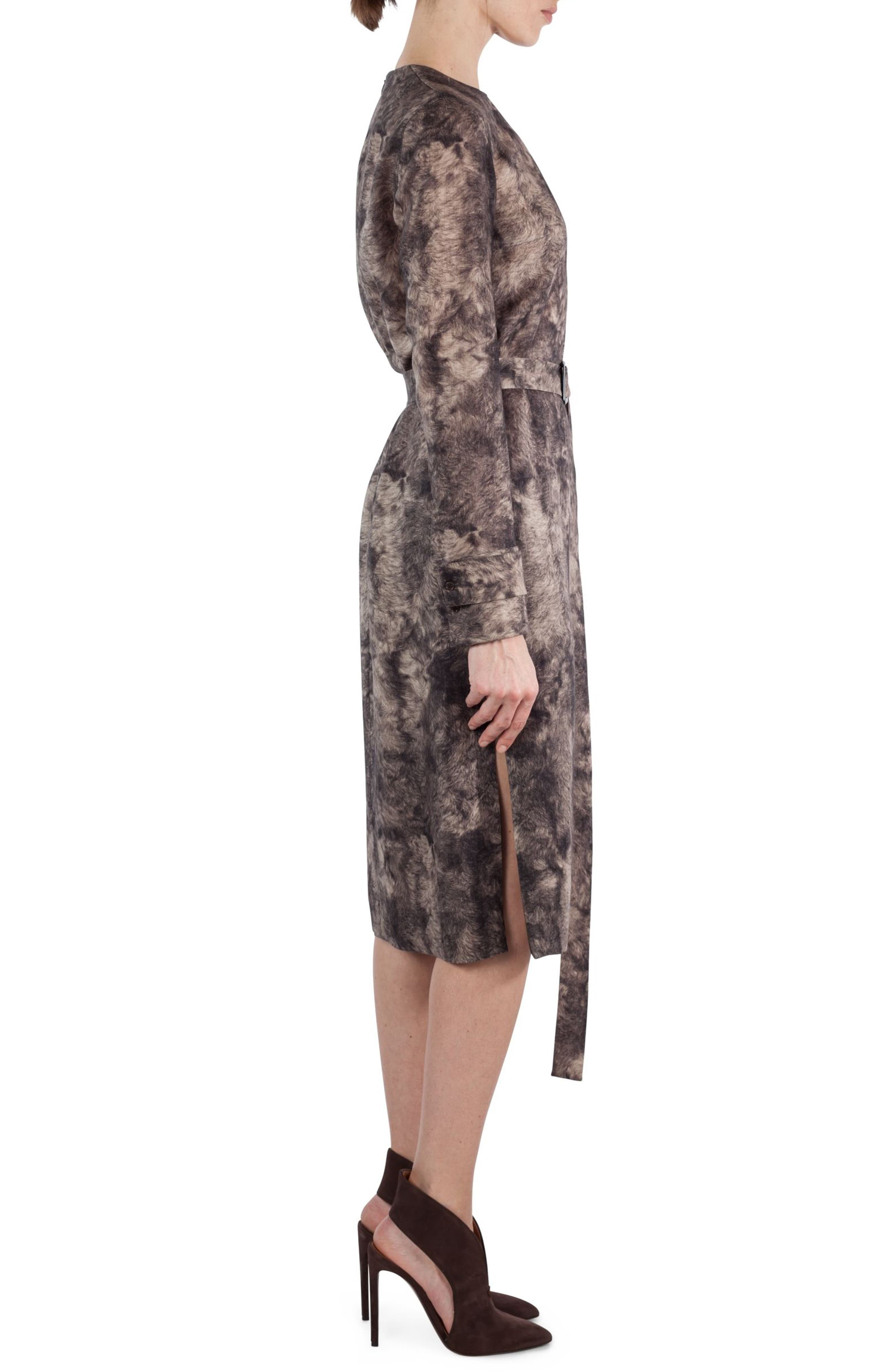 Print Wool Dress,                             Alternate thumbnail 3, color,                             Taupe-Sepia