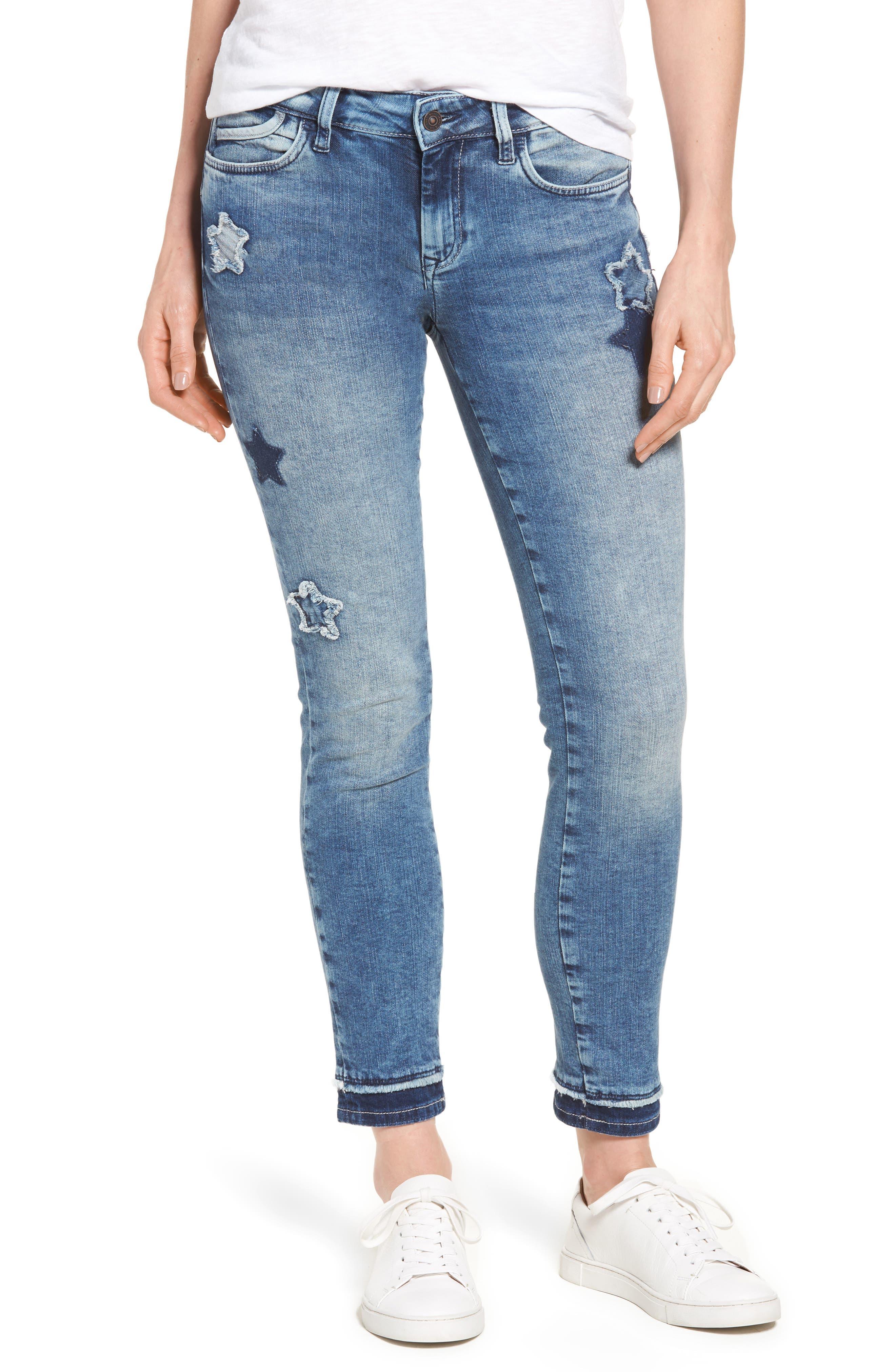 Main Image - Mavi Jeans Adriana Super Skinny Ankle Jeans (Patch-Off Star Block)
