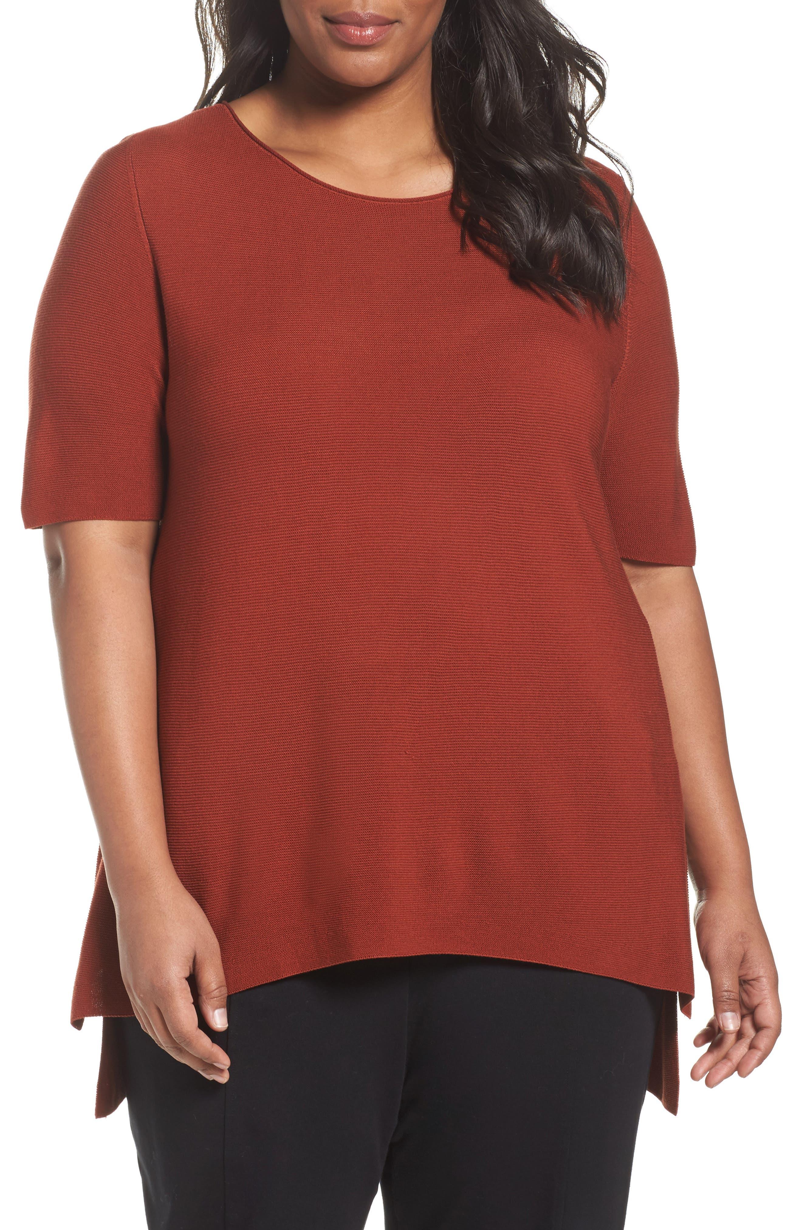 Main Image - Eileen Fisher Tencel® Knit Top (Plus Size)