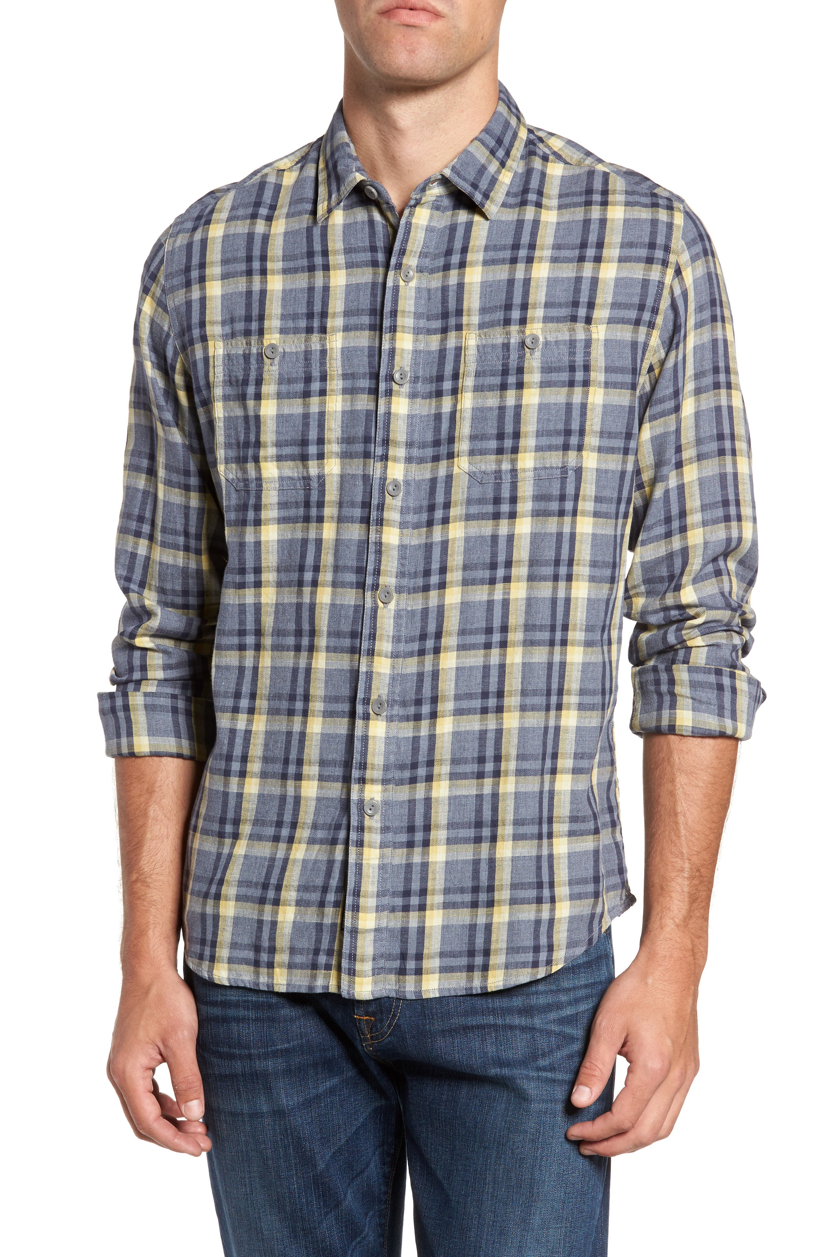 Grayers Tetworth Modern Fit Slubbed Plaid Sport Shirt