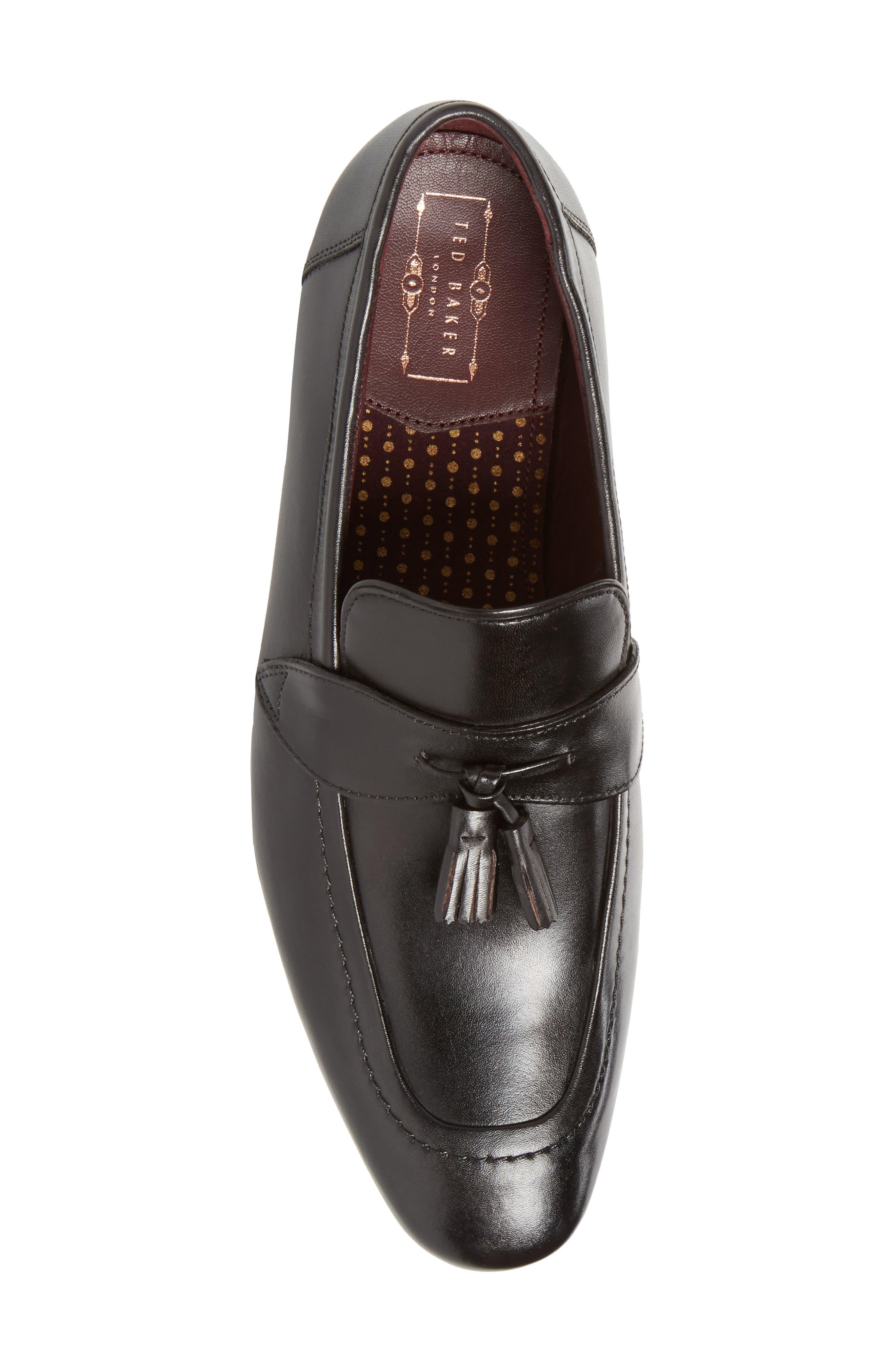 Grafit Tassel Loafer,                             Alternate thumbnail 3, color,                             Black Leather