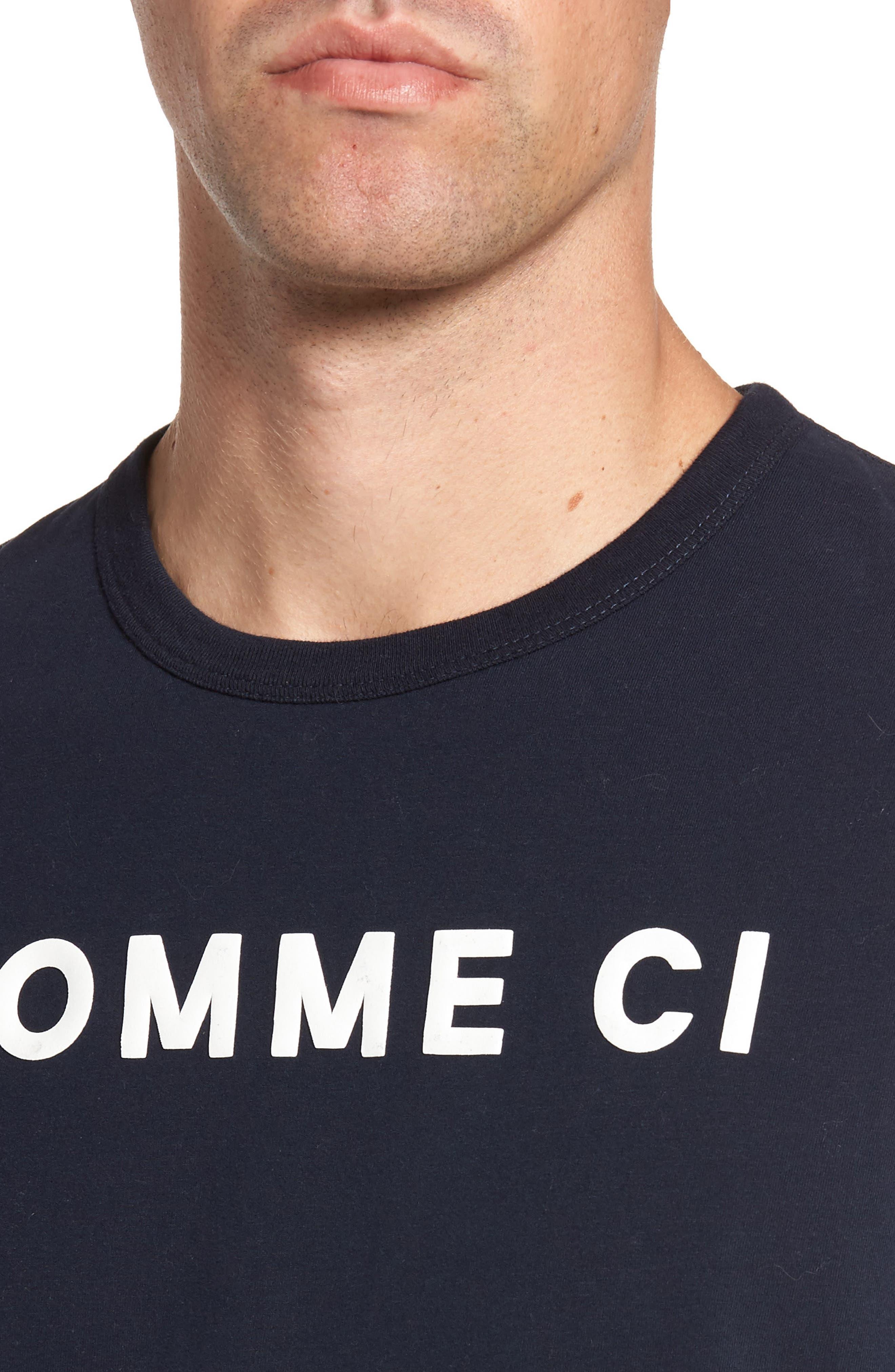 Comme Ci Comme Ça Regular Fit T-Shirt,                             Alternate thumbnail 4, color,                             Marine Blue/ White