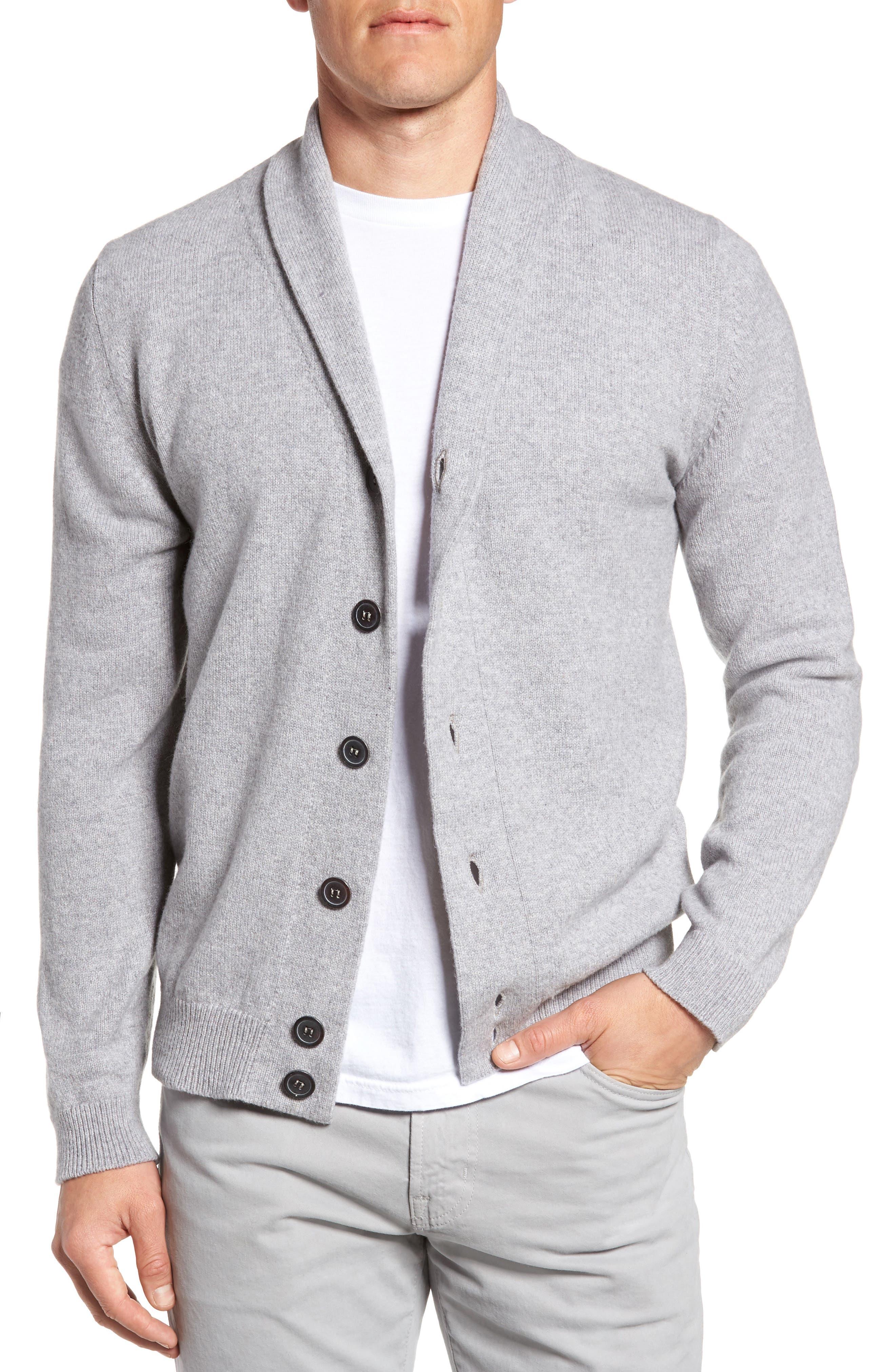 Slim Fit Merino Wool & Cashmere Cardigan,                             Main thumbnail 1, color,                             Silver
