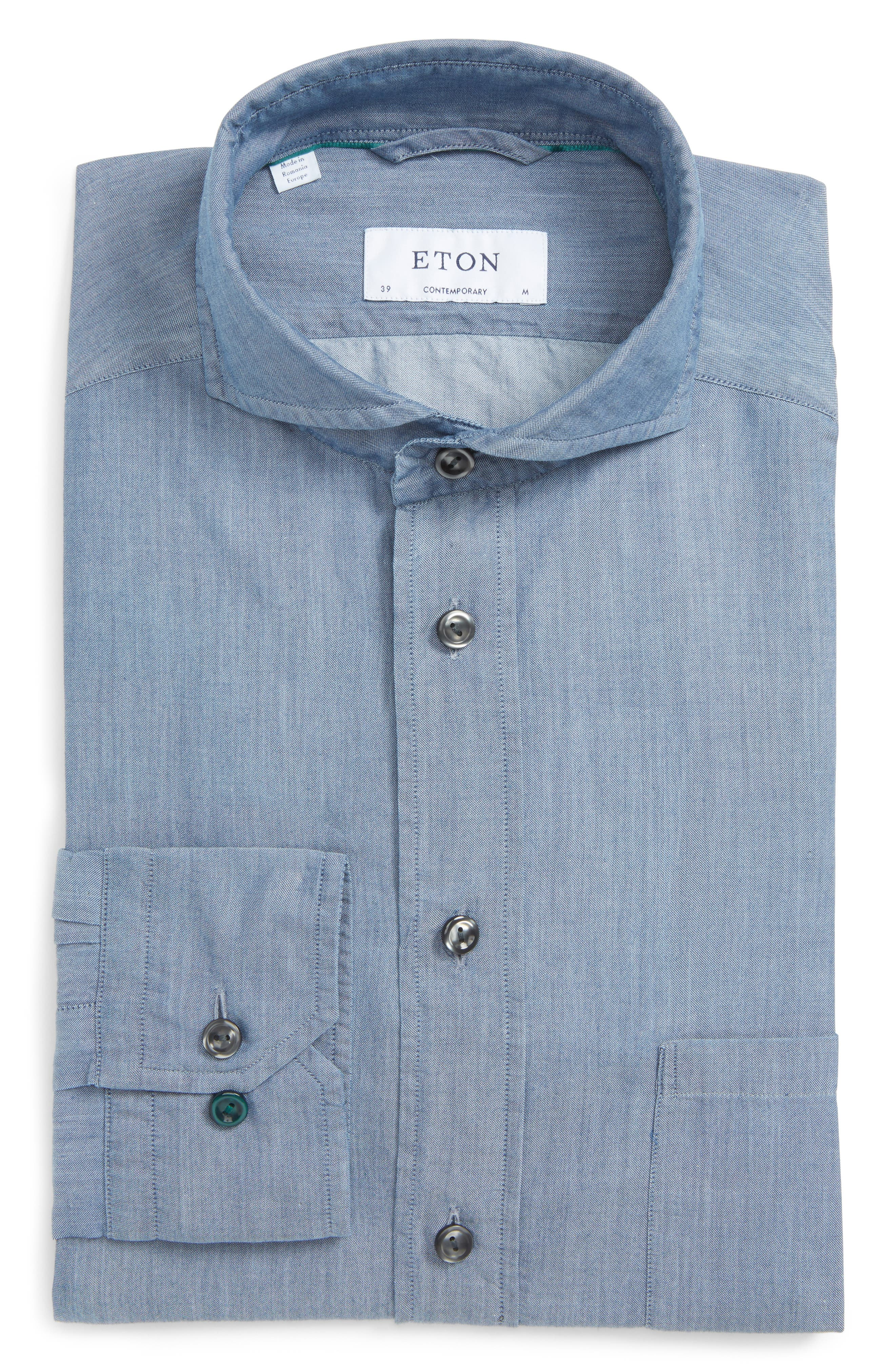 Alternate Image 1 Selected - Eton Contemporary Fit Chambray Dress Shirt
