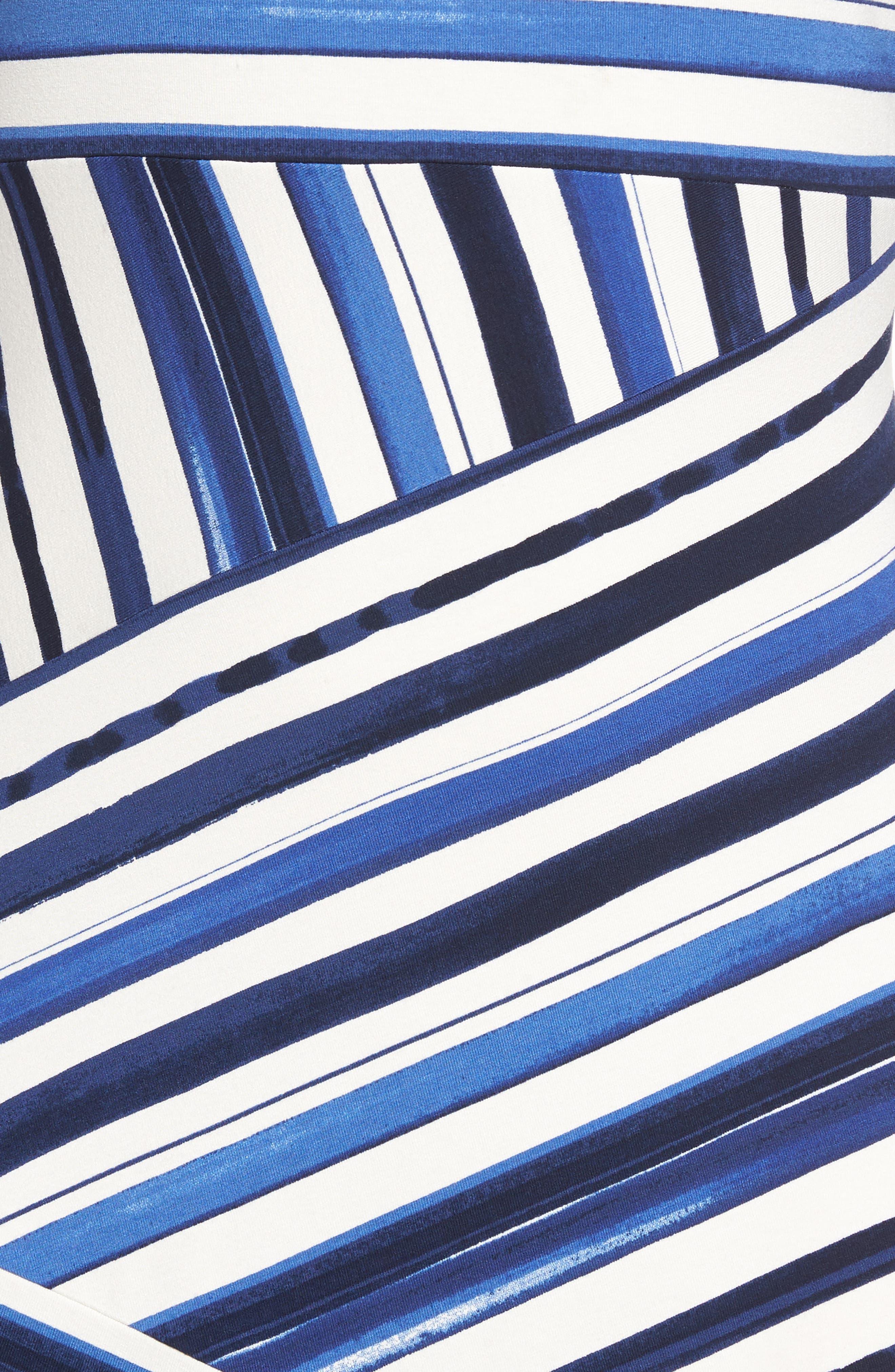 Aquarelle Stripe A-Line Dress,                             Alternate thumbnail 5, color,                             Eclipse