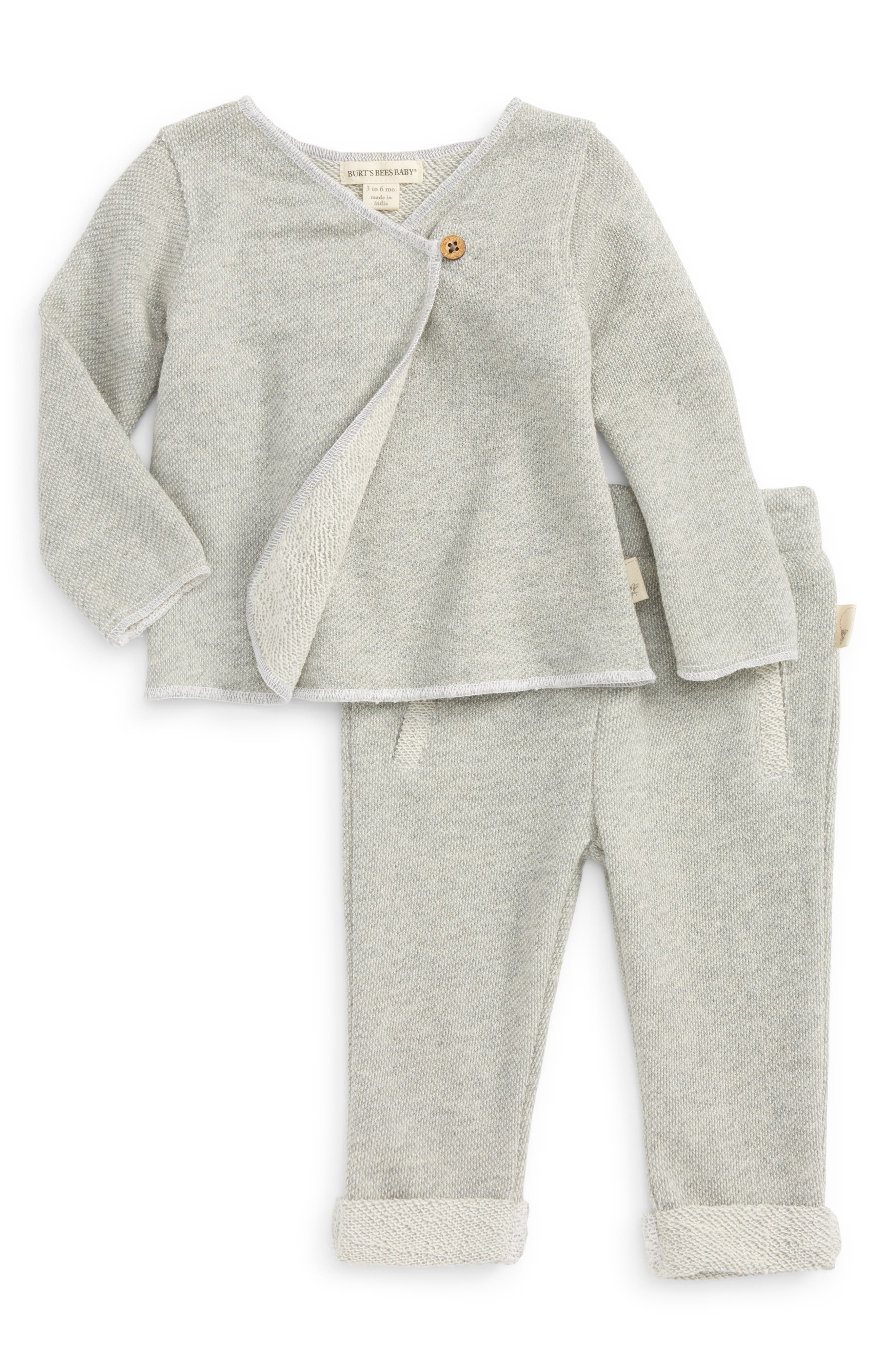 Organic Cotton Kimono Top & Pants Set,                             Main thumbnail 1, color,                             Heather Grey