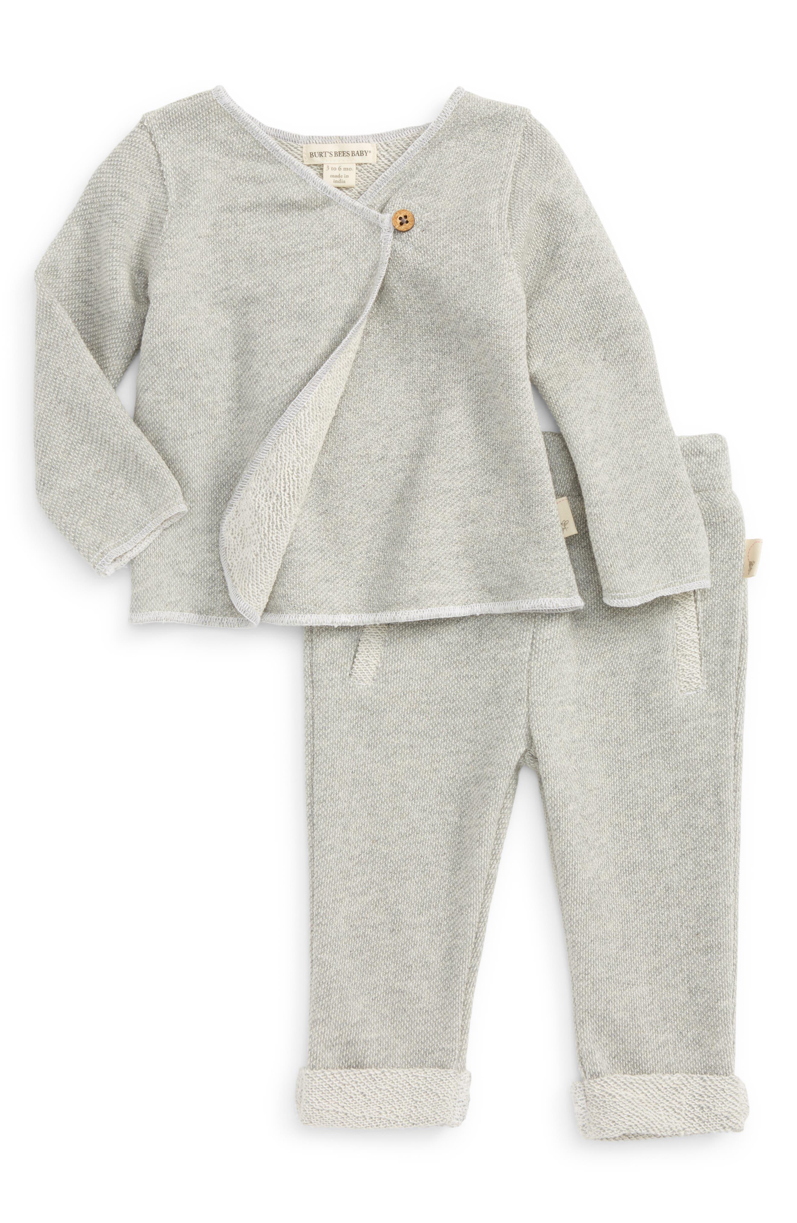 Organic Cotton Kimono Top & Pants Set,                         Main,                         color, Heather Grey