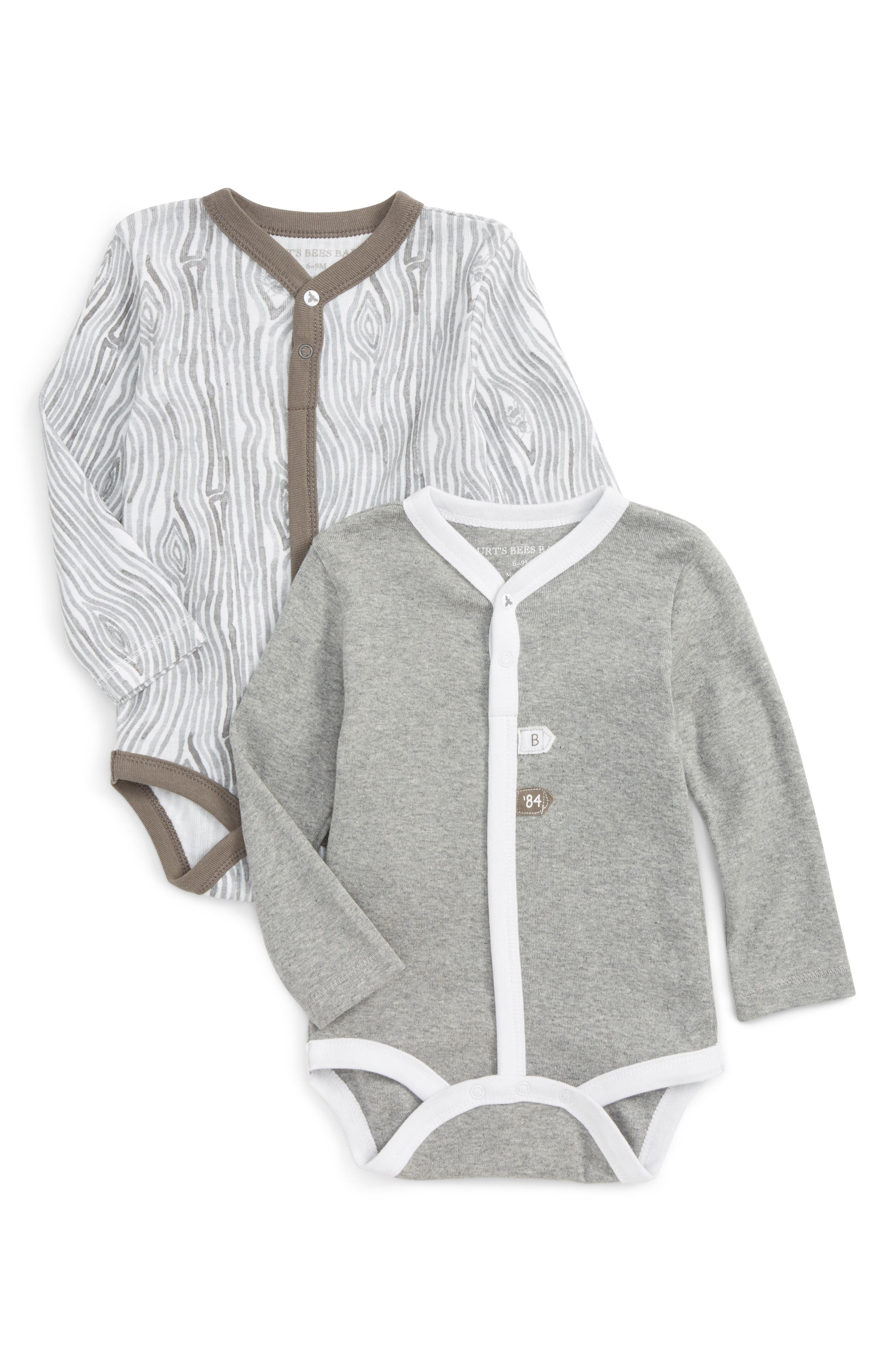 Alternate Image 1 Selected - Burt's Bees Baby 2-Pack Print Organic Cotton Bodysuits (Baby)