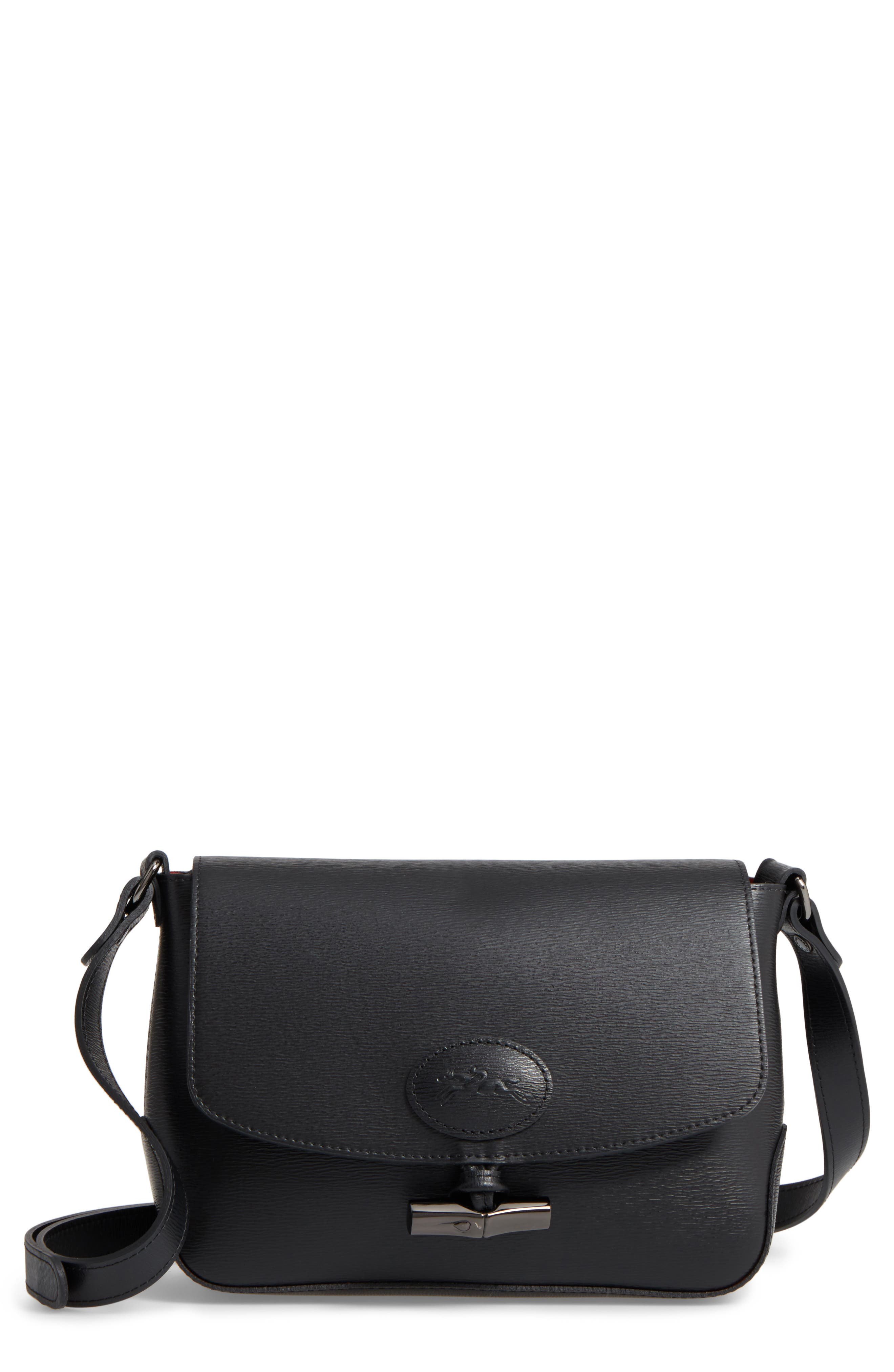 Roseau Leather Crossbody Bag,                             Main thumbnail 1, color,                             Black