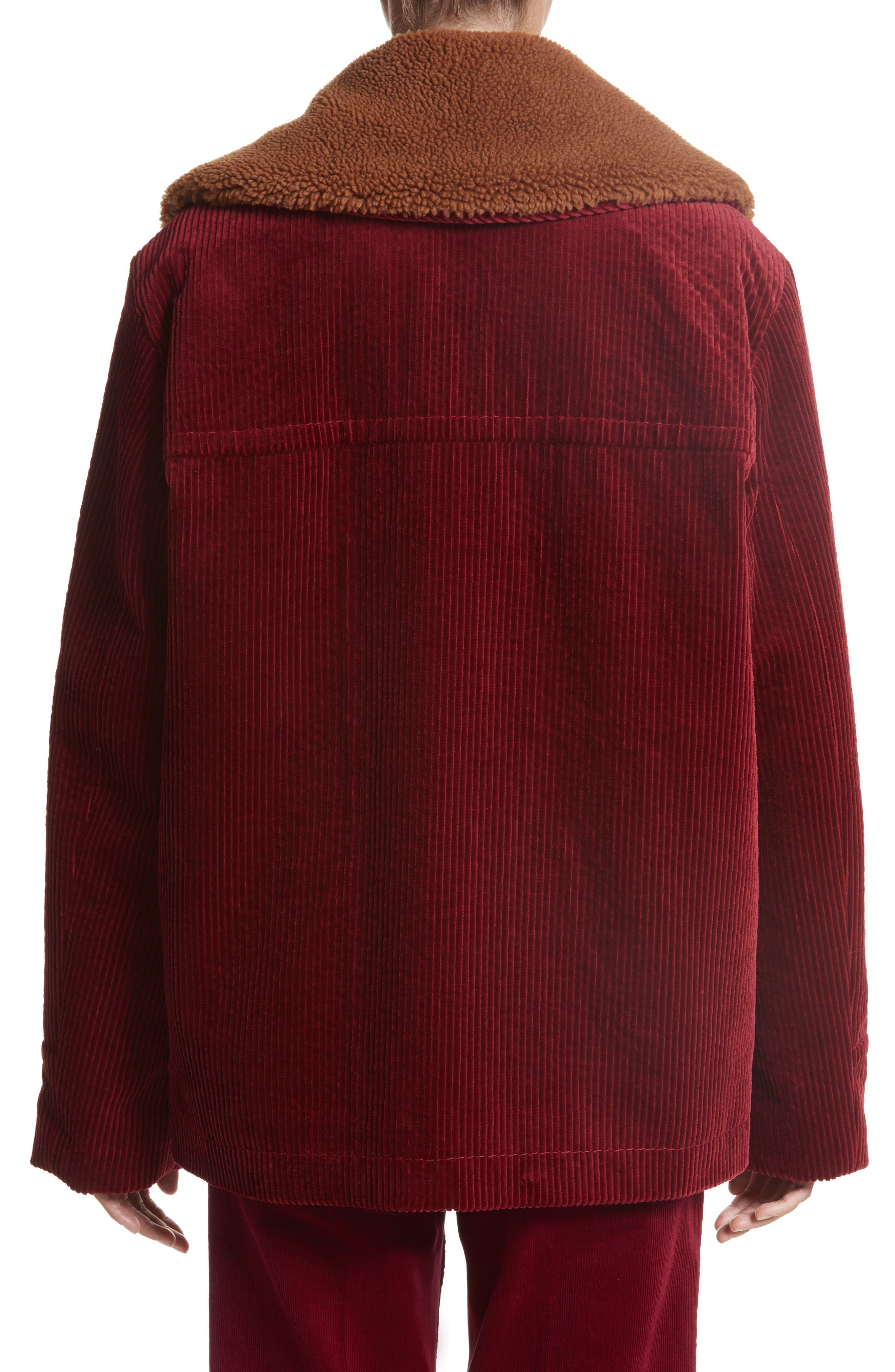 Corduroy Coat with Faux Shearling Collar,                             Alternate thumbnail 2, color,                             Bordeaux