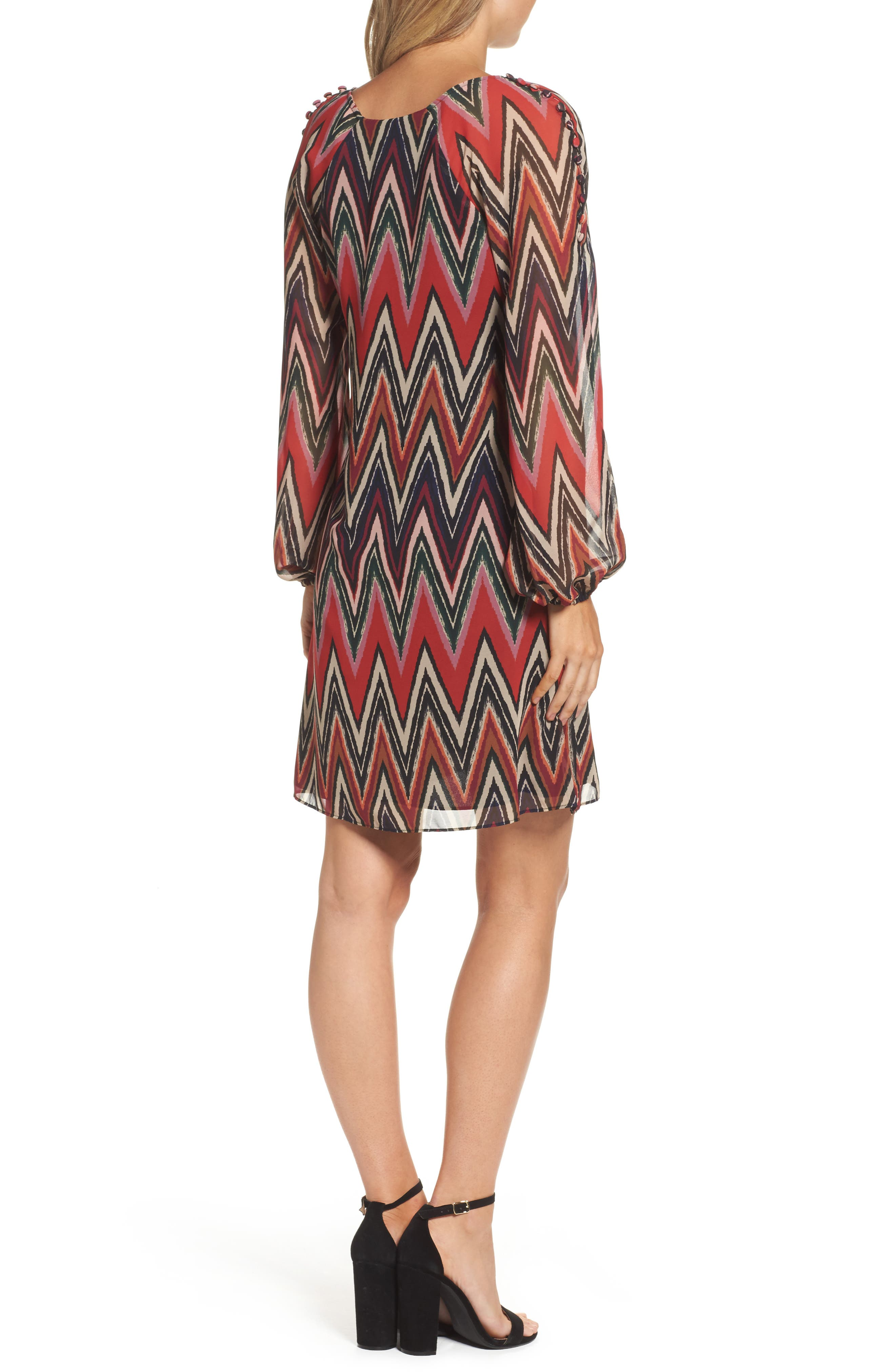 Chevron Swing Dress,                             Alternate thumbnail 2, color,                             Red/ Black