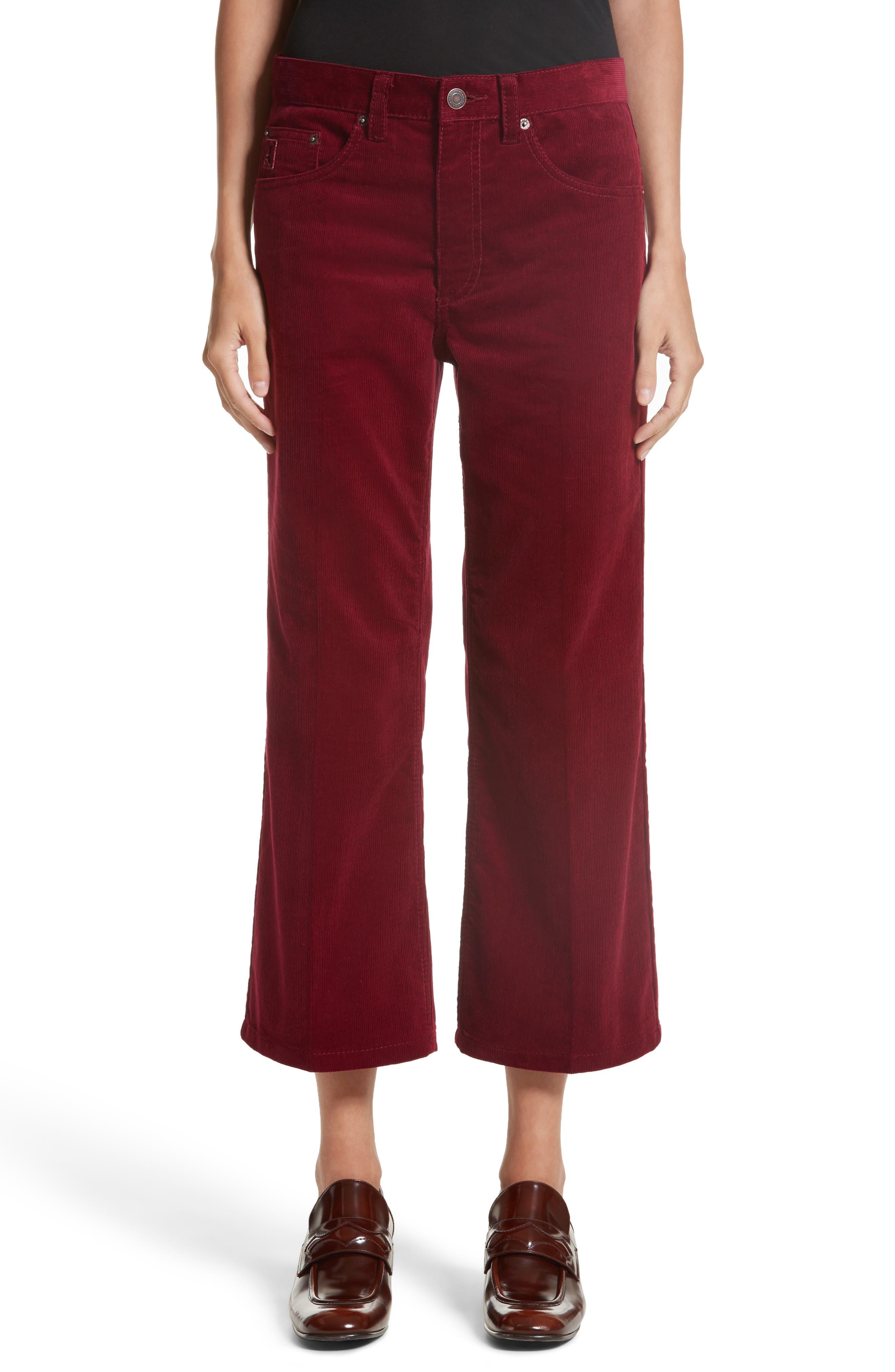 Crop Flare Corduroy Pants,                         Main,                         color, Bordeaux