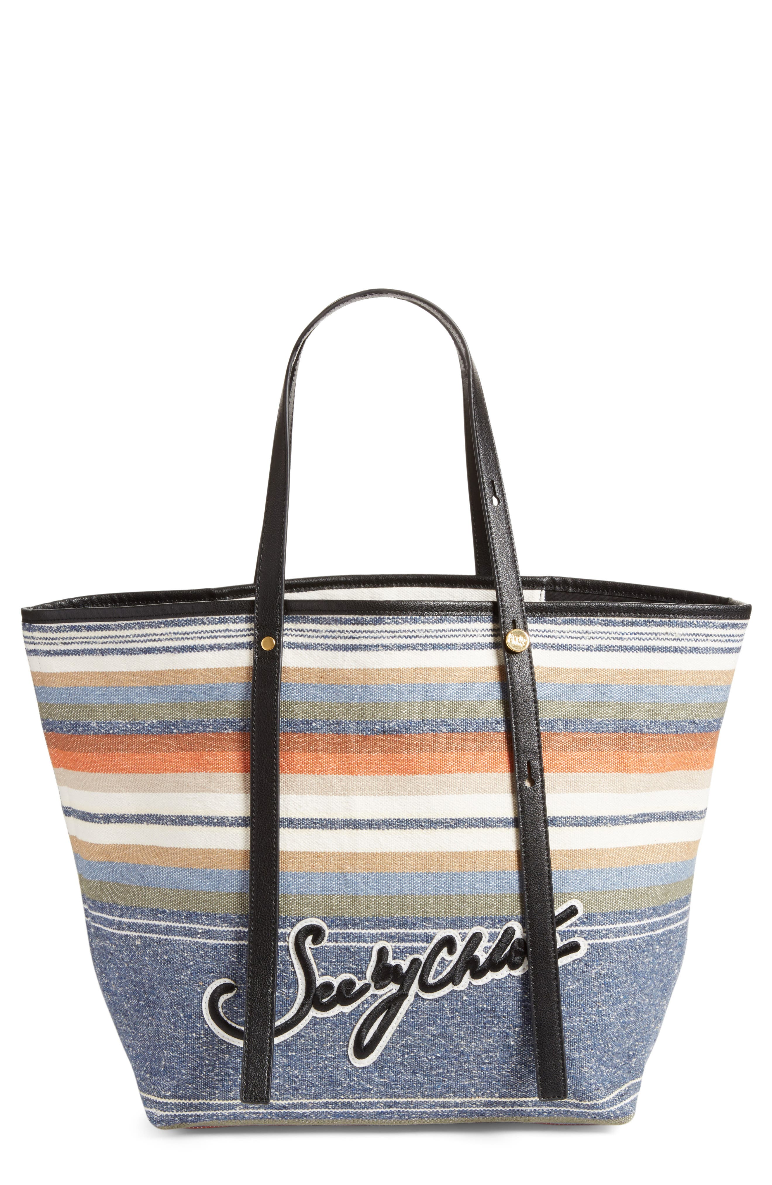 Main Image - See by Chloé Stripe Canvas Tote