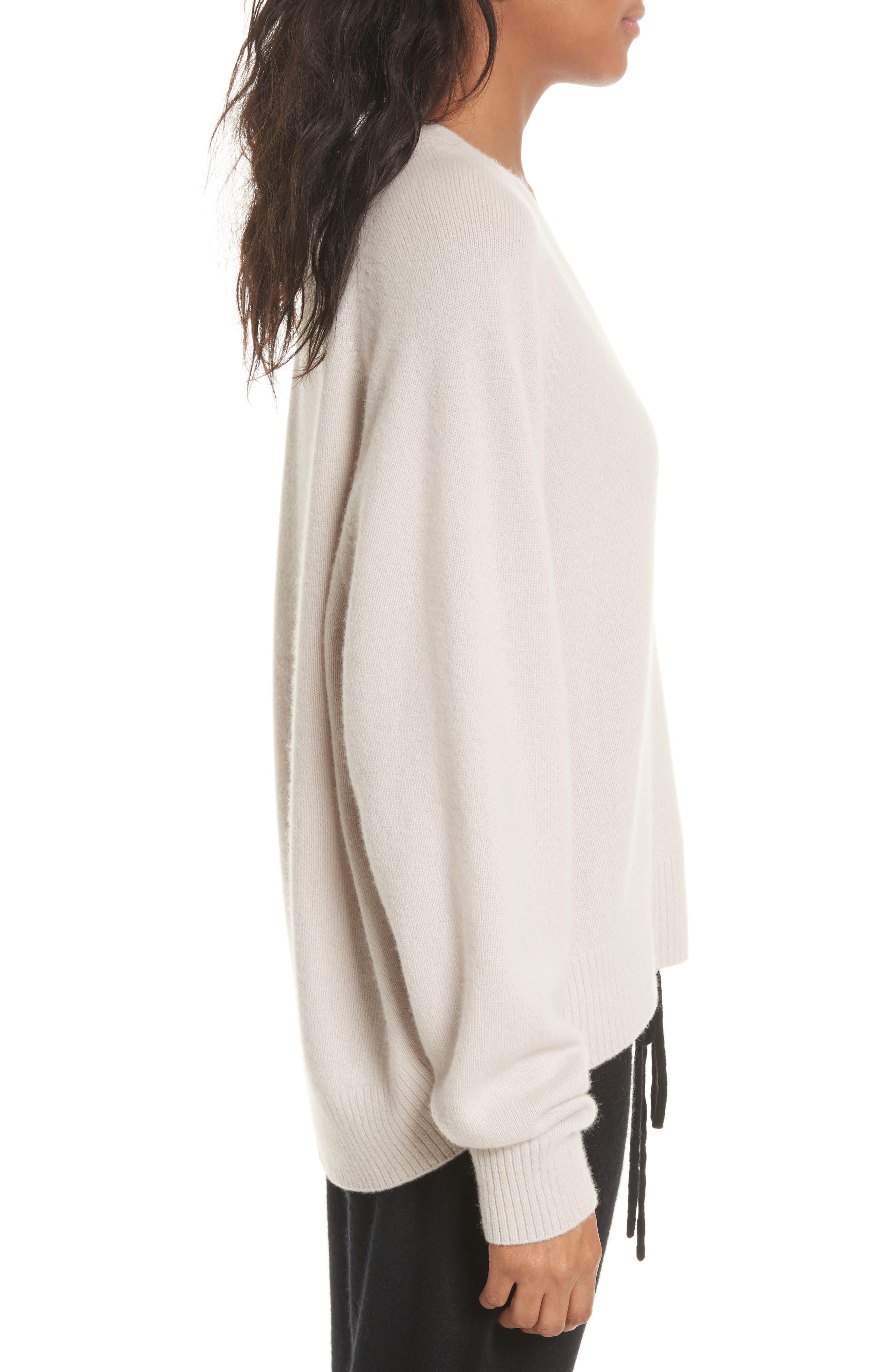 Deep V-Neck Cashmere Sweater,                             Alternate thumbnail 4, color,                             Linen