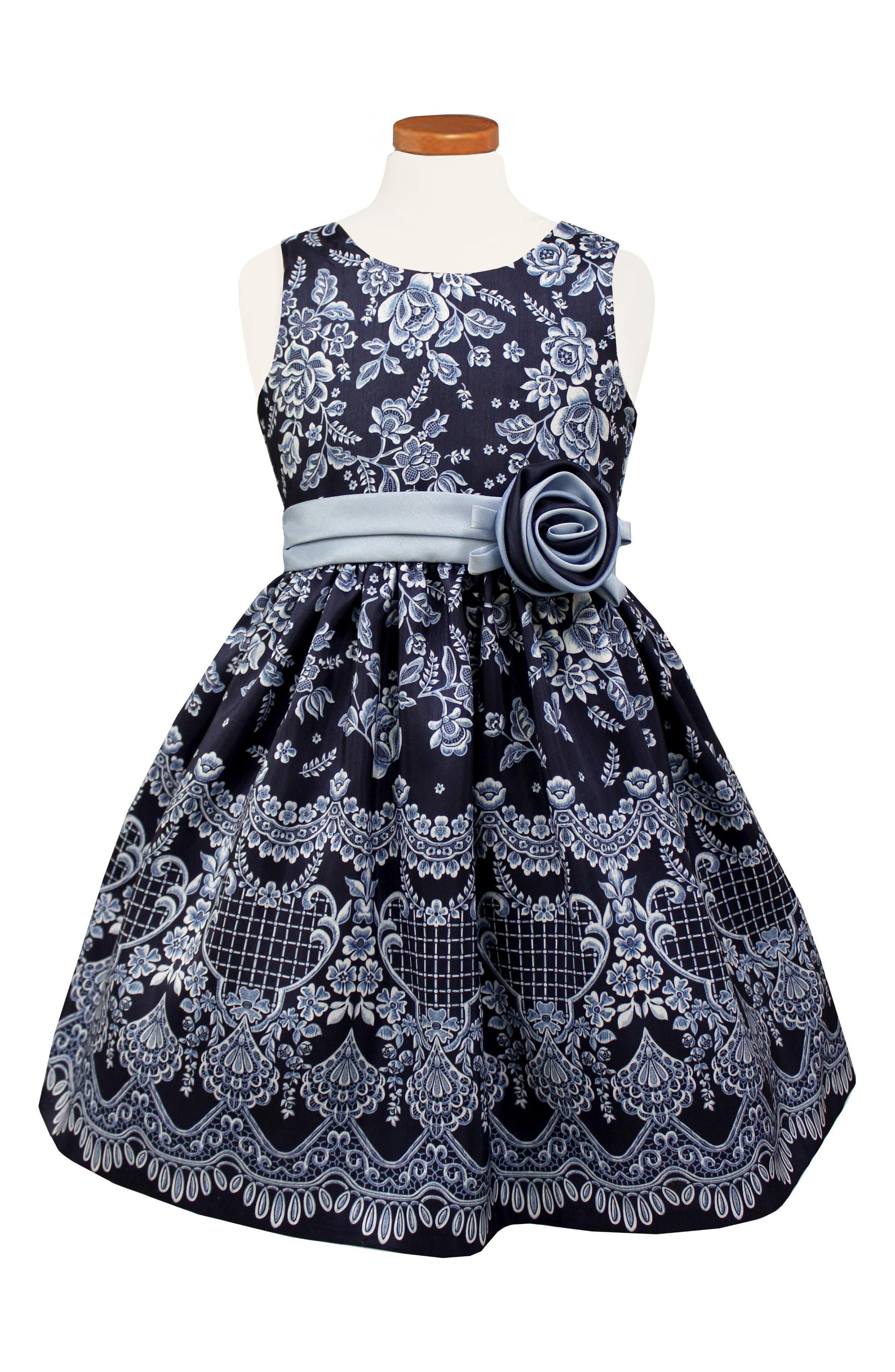 Floral Print Shantung Dress,                         Main,                         color, Navy