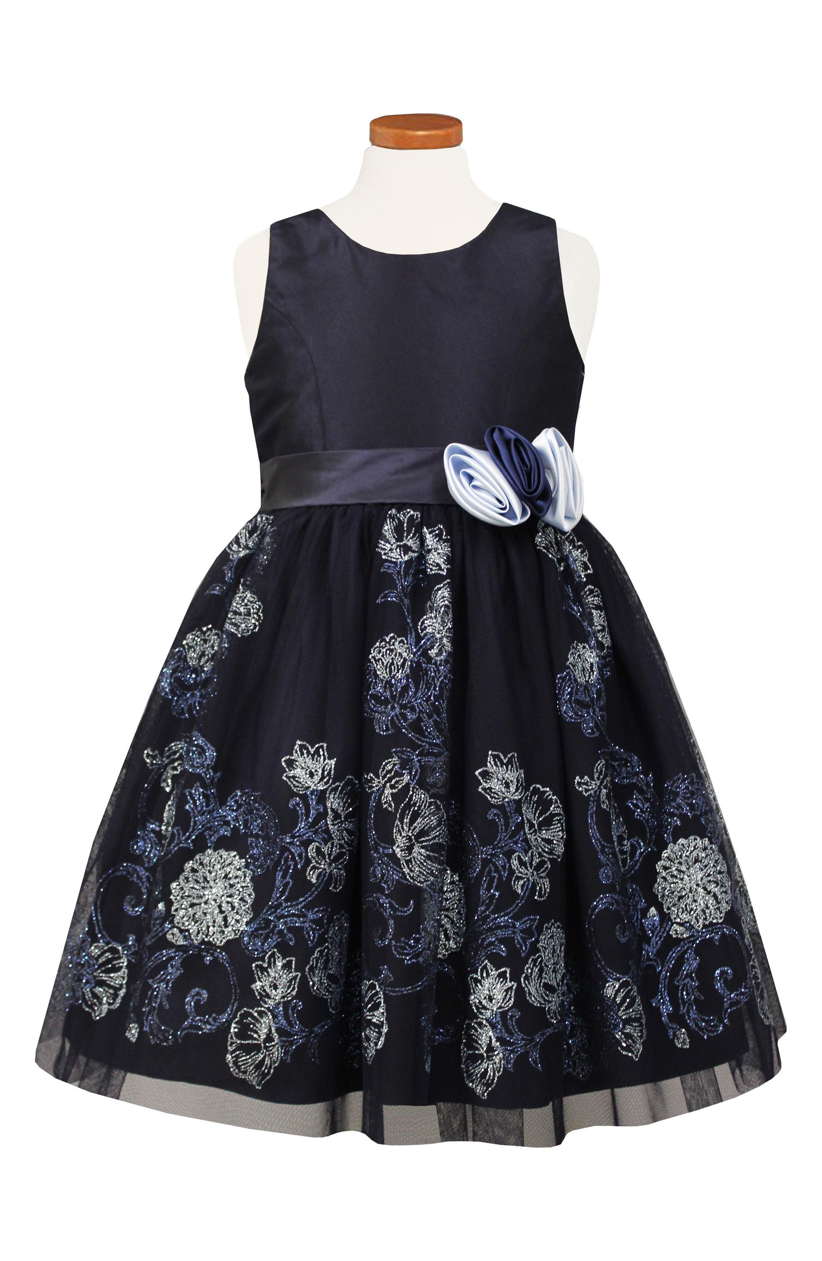 Glitter Embellished Party Dress,                             Main thumbnail 1, color,                             Navy