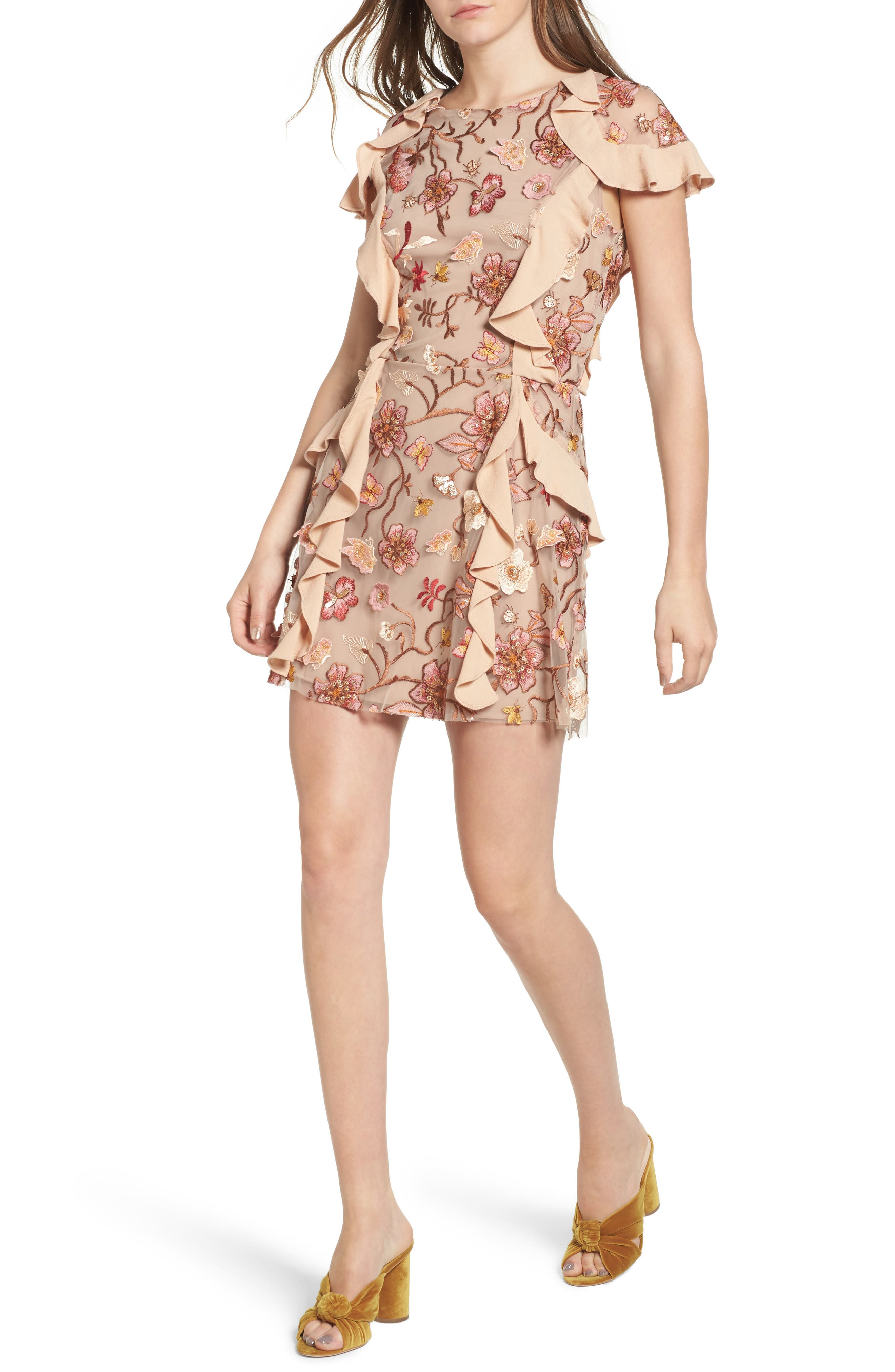 Botanical Embroidered Ruffle Minidress,                             Main thumbnail 1, color,                             Nude Floral