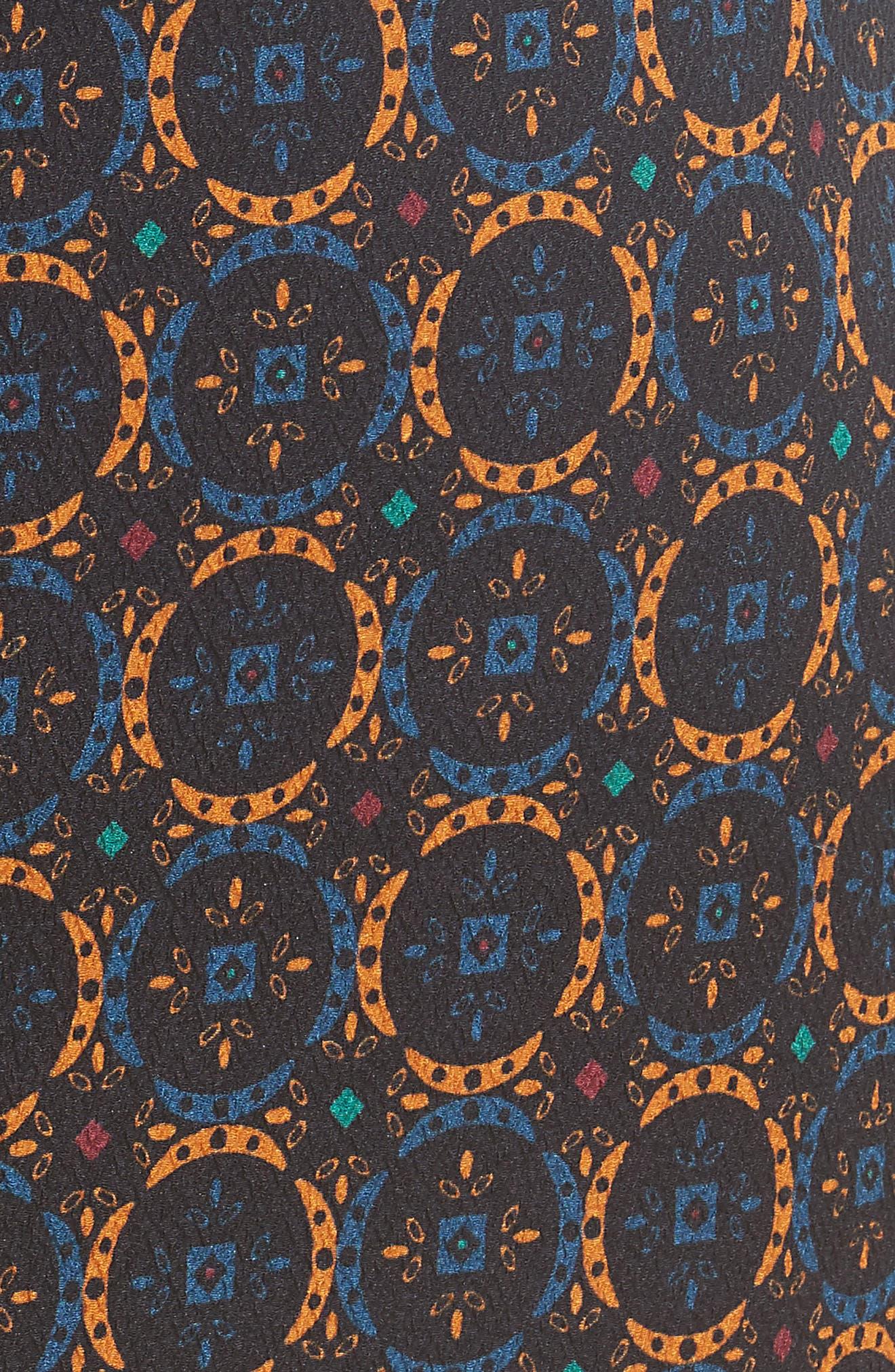 Print Stretch Silk Pencil Skirt,                             Alternate thumbnail 5, color,                             Foulard Placement