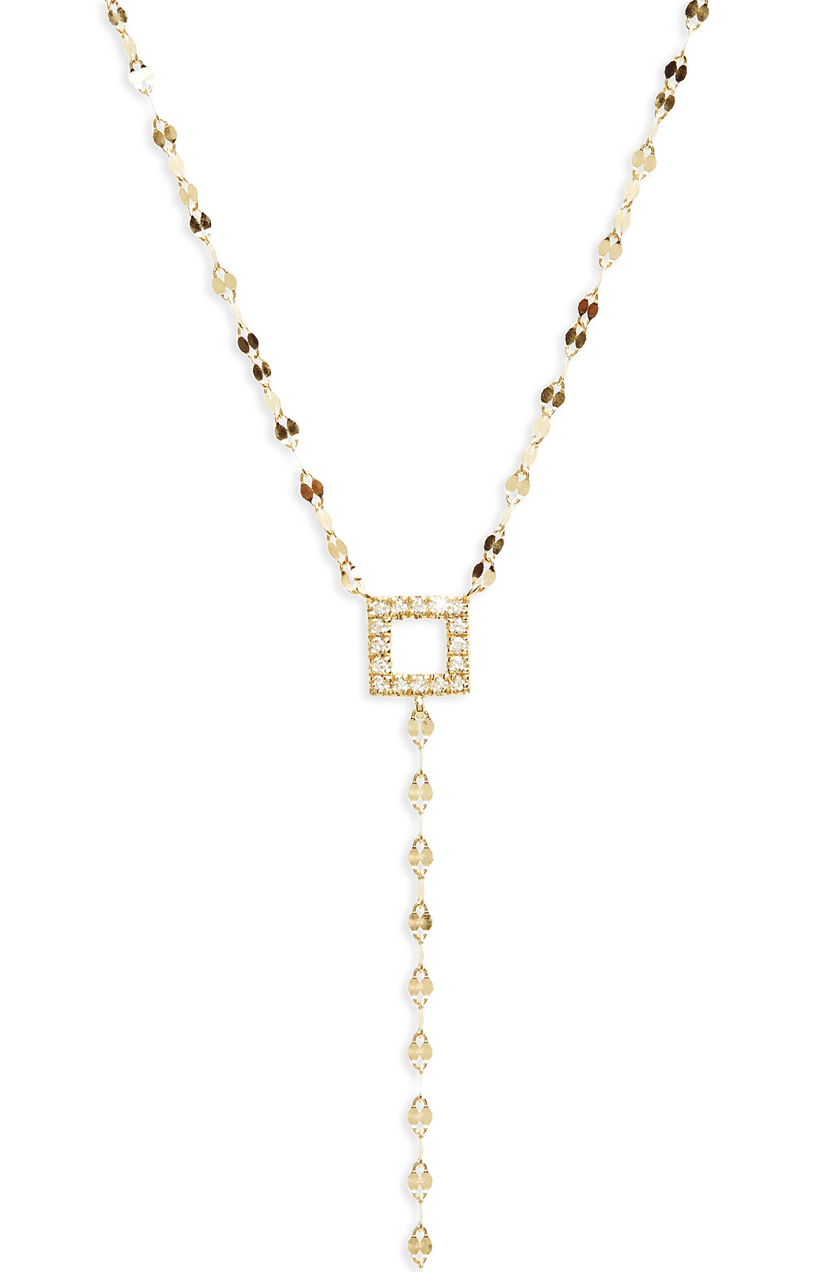 Diamond Lariat Necklace,                             Alternate thumbnail 2, color,                             Yellow Gold