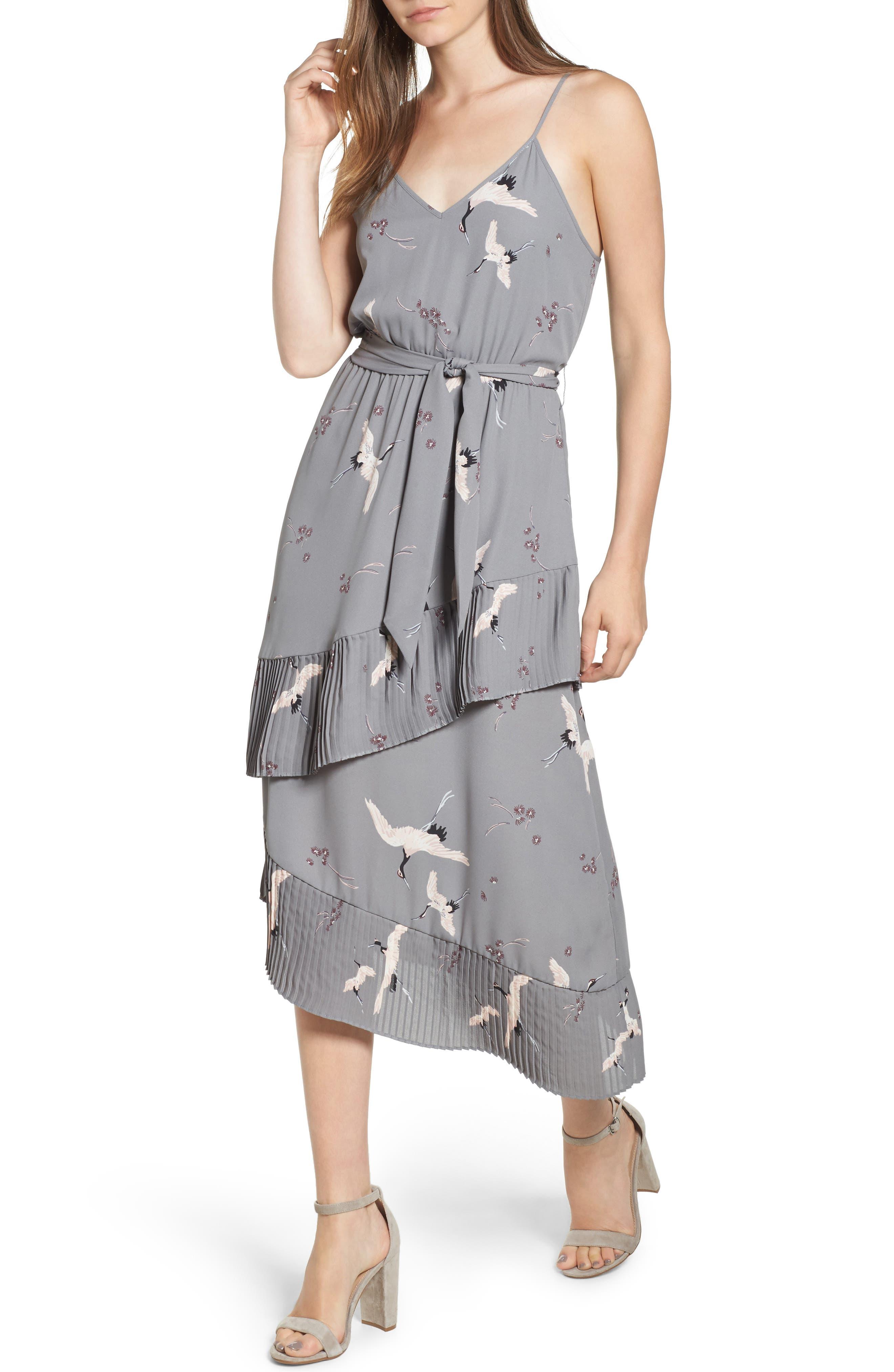 Ruffle Pleat Midi Dress,                         Main,                         color, Grey December Crane Print