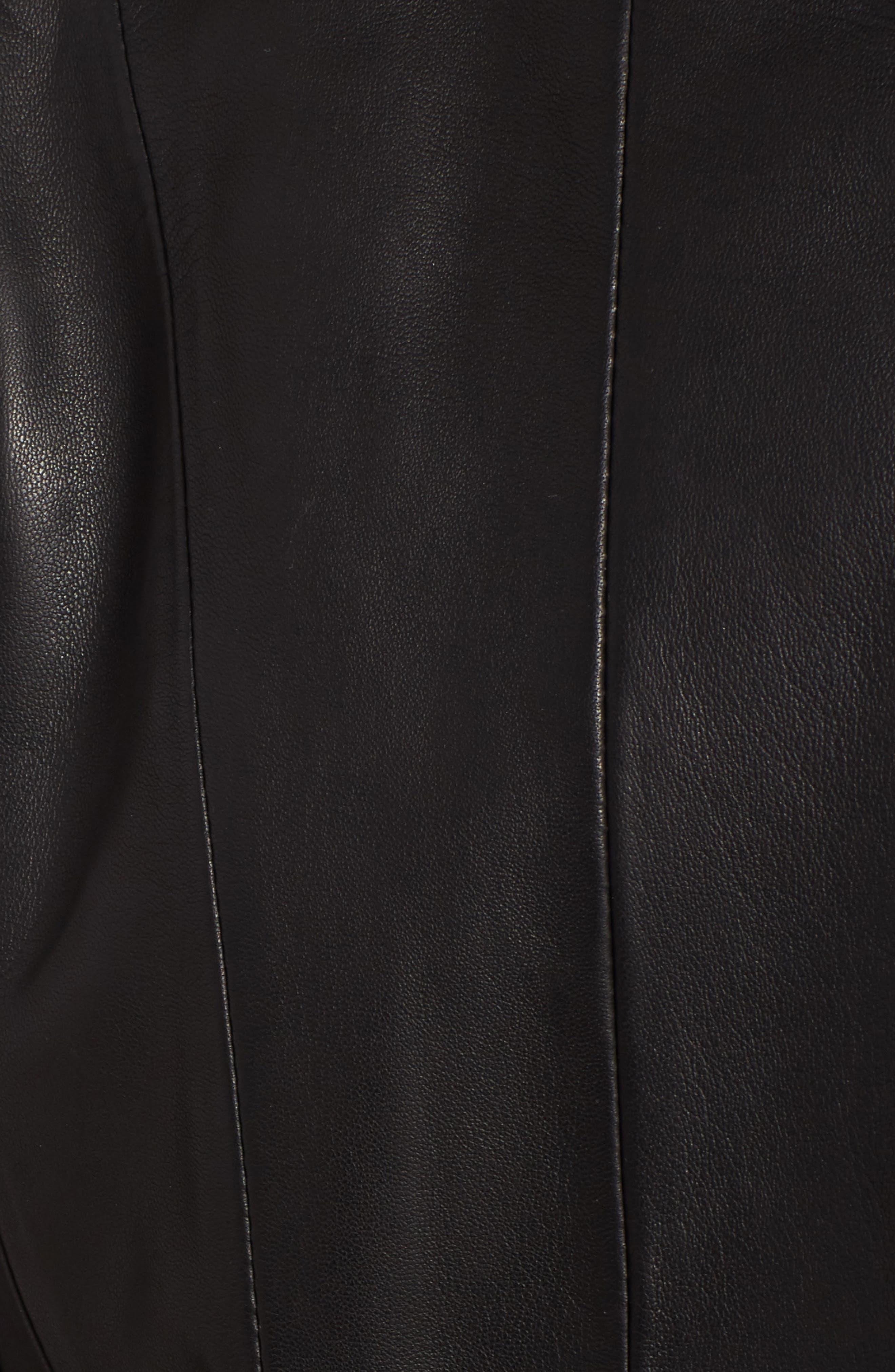 Leather Car Coat,                             Alternate thumbnail 5, color,                             Black