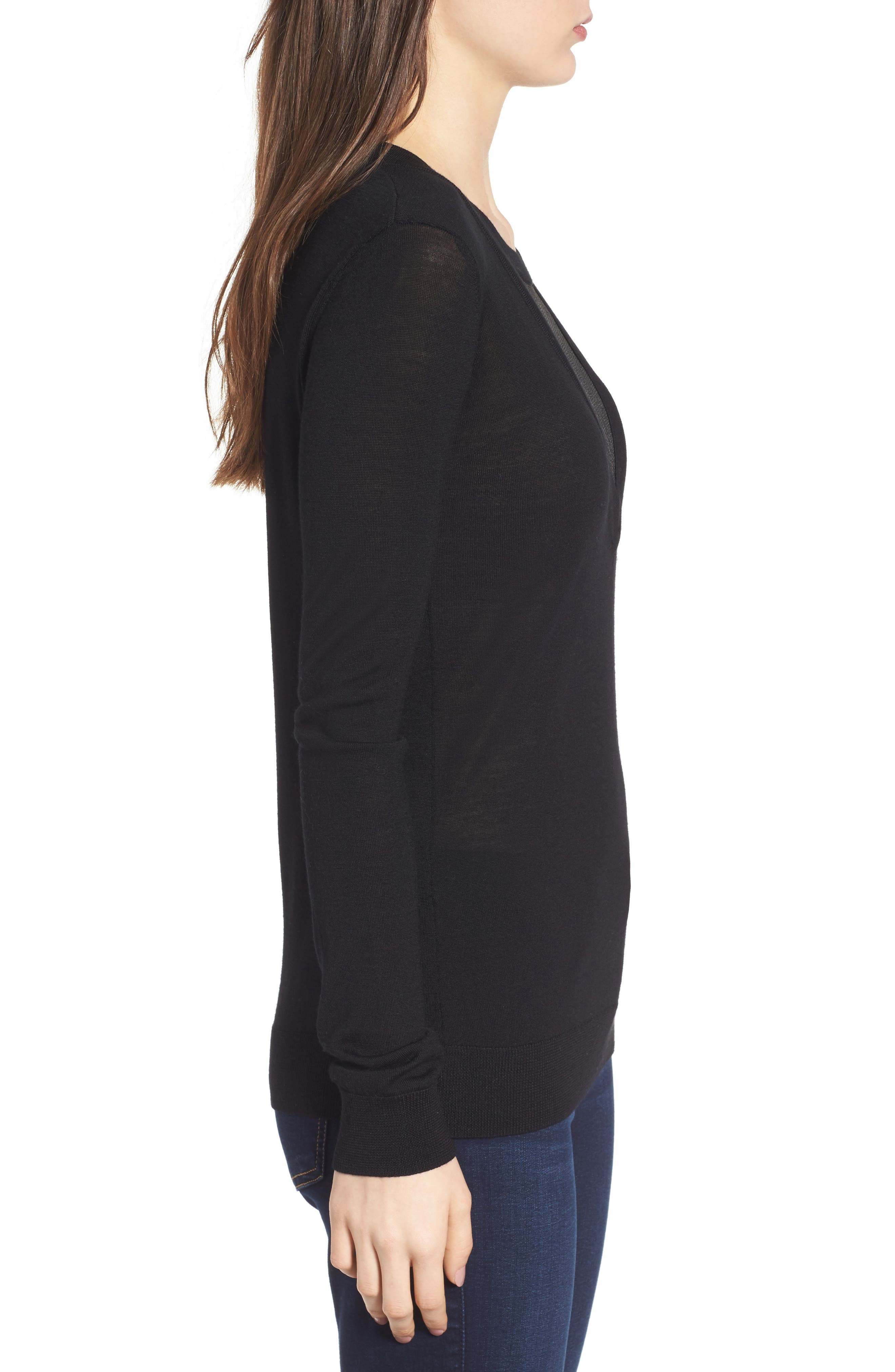 Chivalry Mesh Sweater,                             Alternate thumbnail 3, color,                             Black