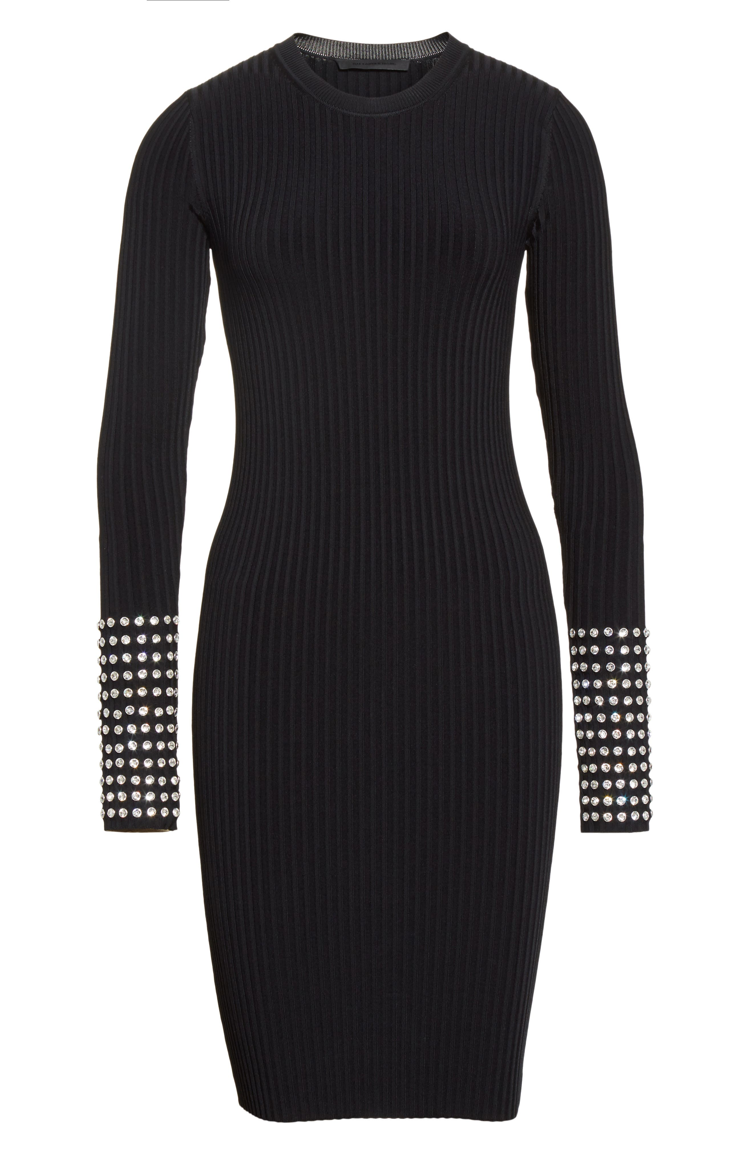 Crystal Cuff Rib Knit Dress,                             Alternate thumbnail 7, color,                             Black