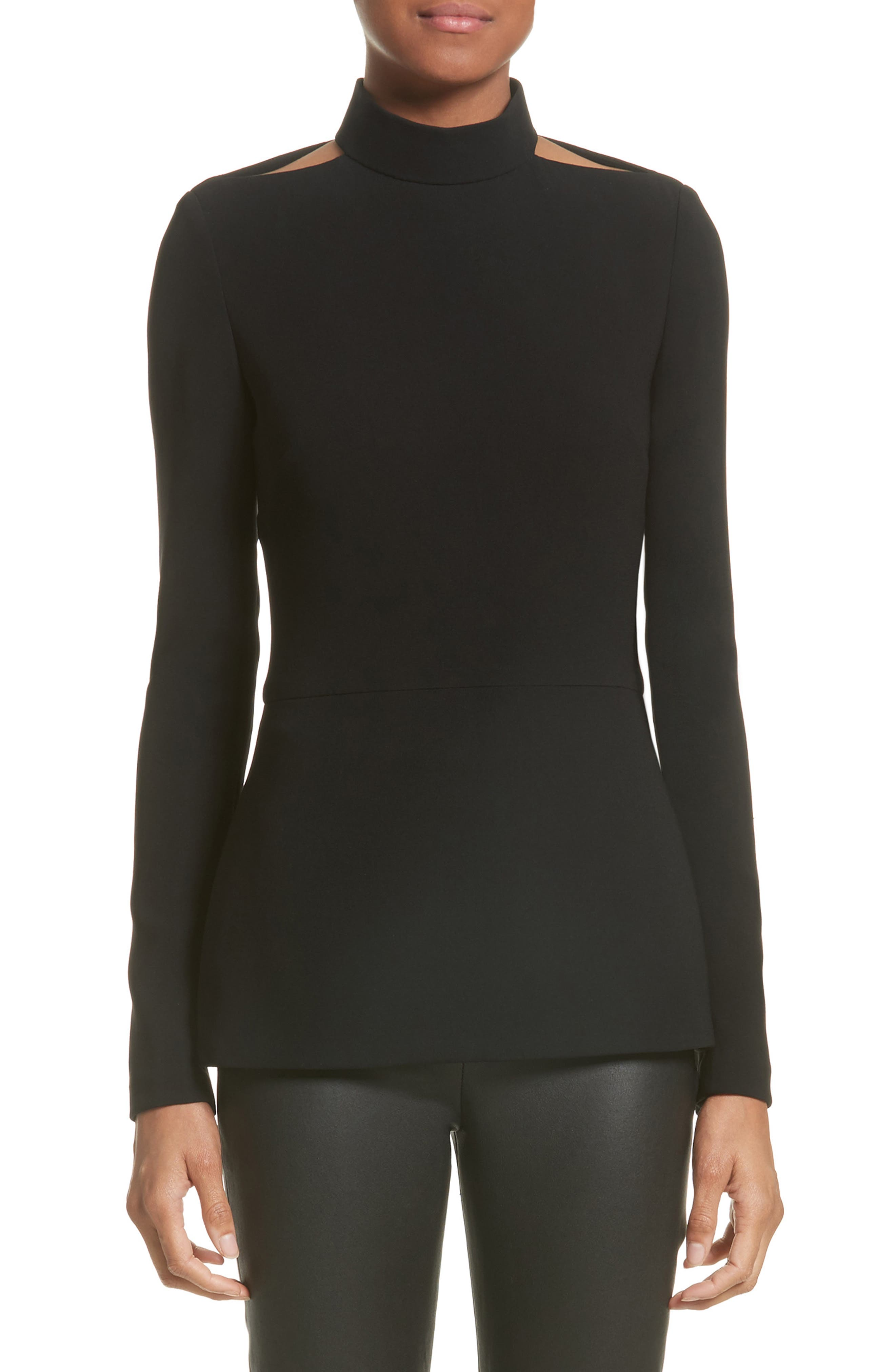 Cutout Crepe Top,                         Main,                         color, Black