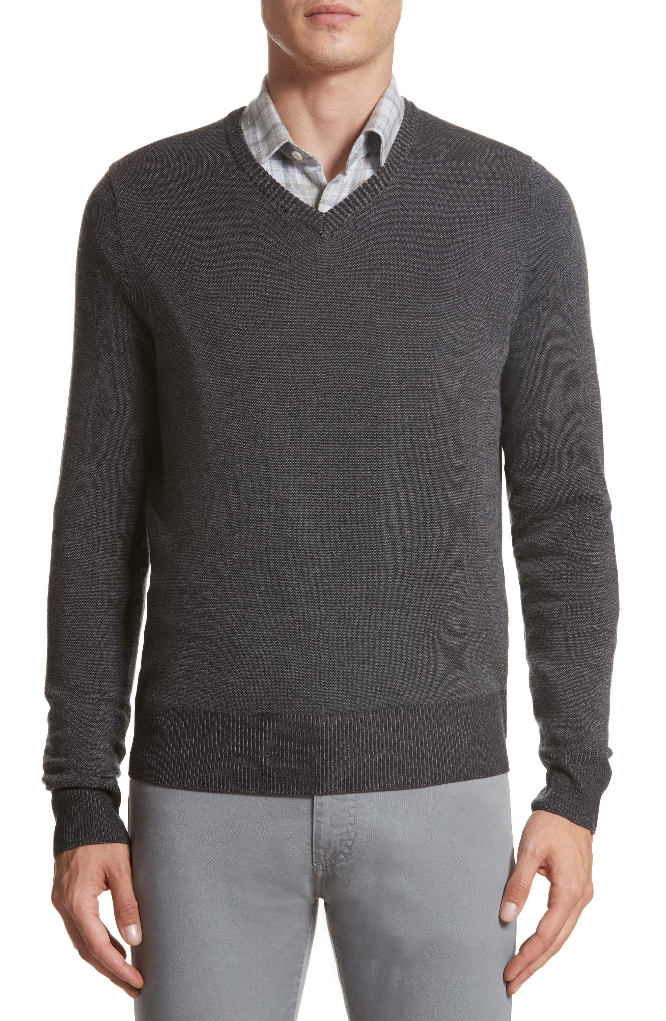 Regular Fit Wool Sweater,                         Main,                         color, Charcoal