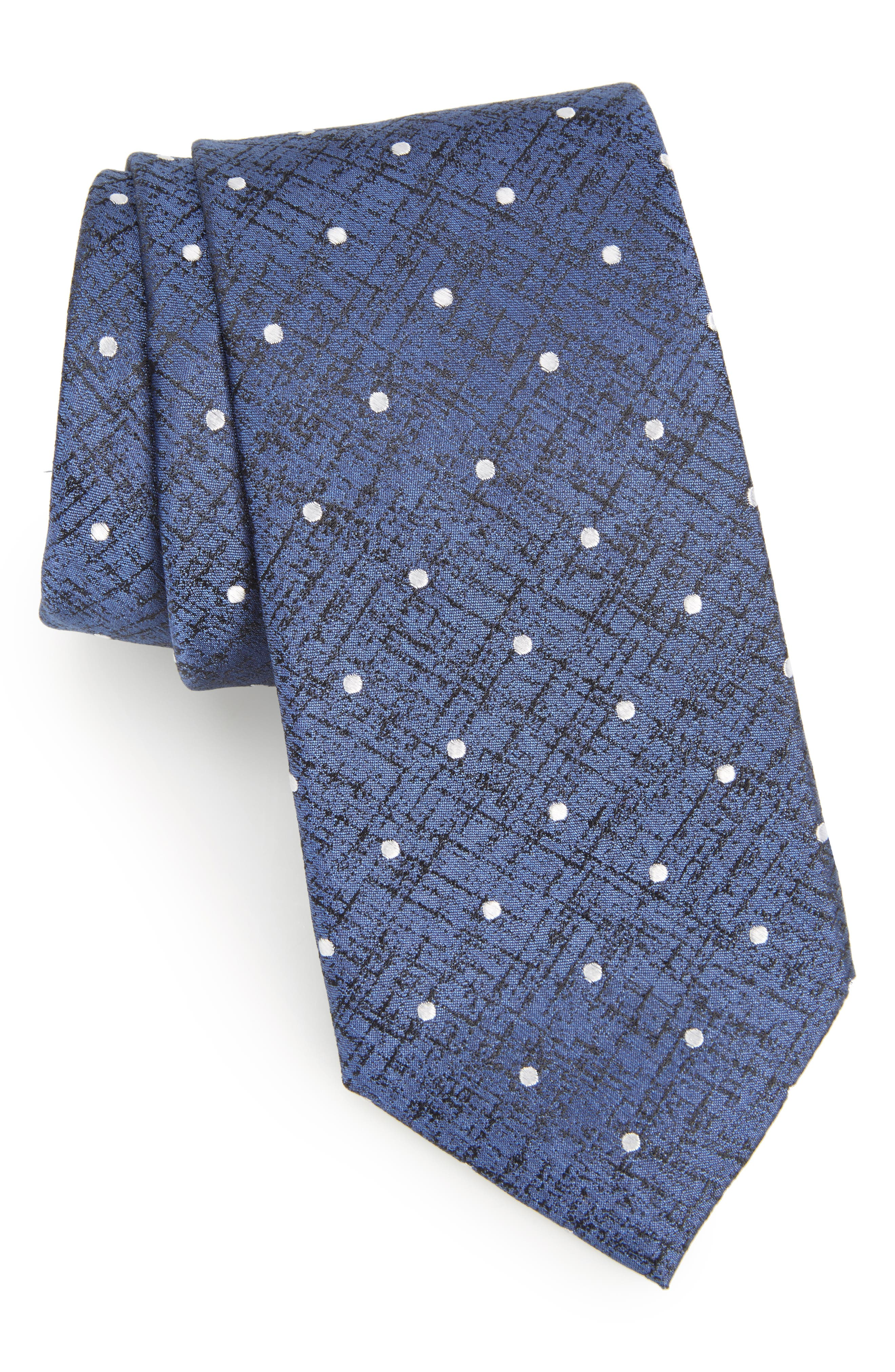 Aurora Dot Silk Tie,                             Main thumbnail 1, color,                             Navy