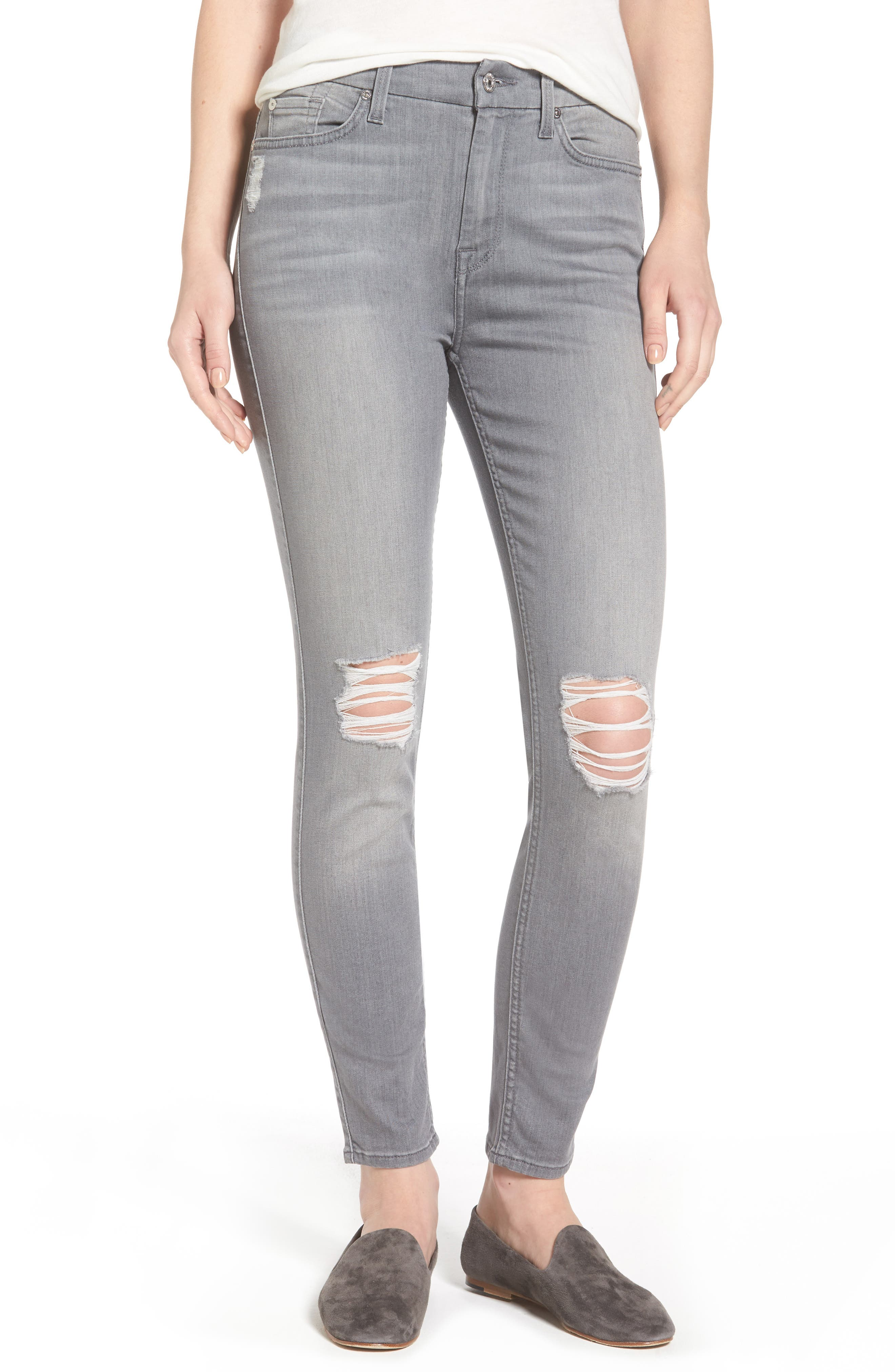 7 For All Mankind® b(air) High Waist Skinny Jeans (Chrysler Grey)