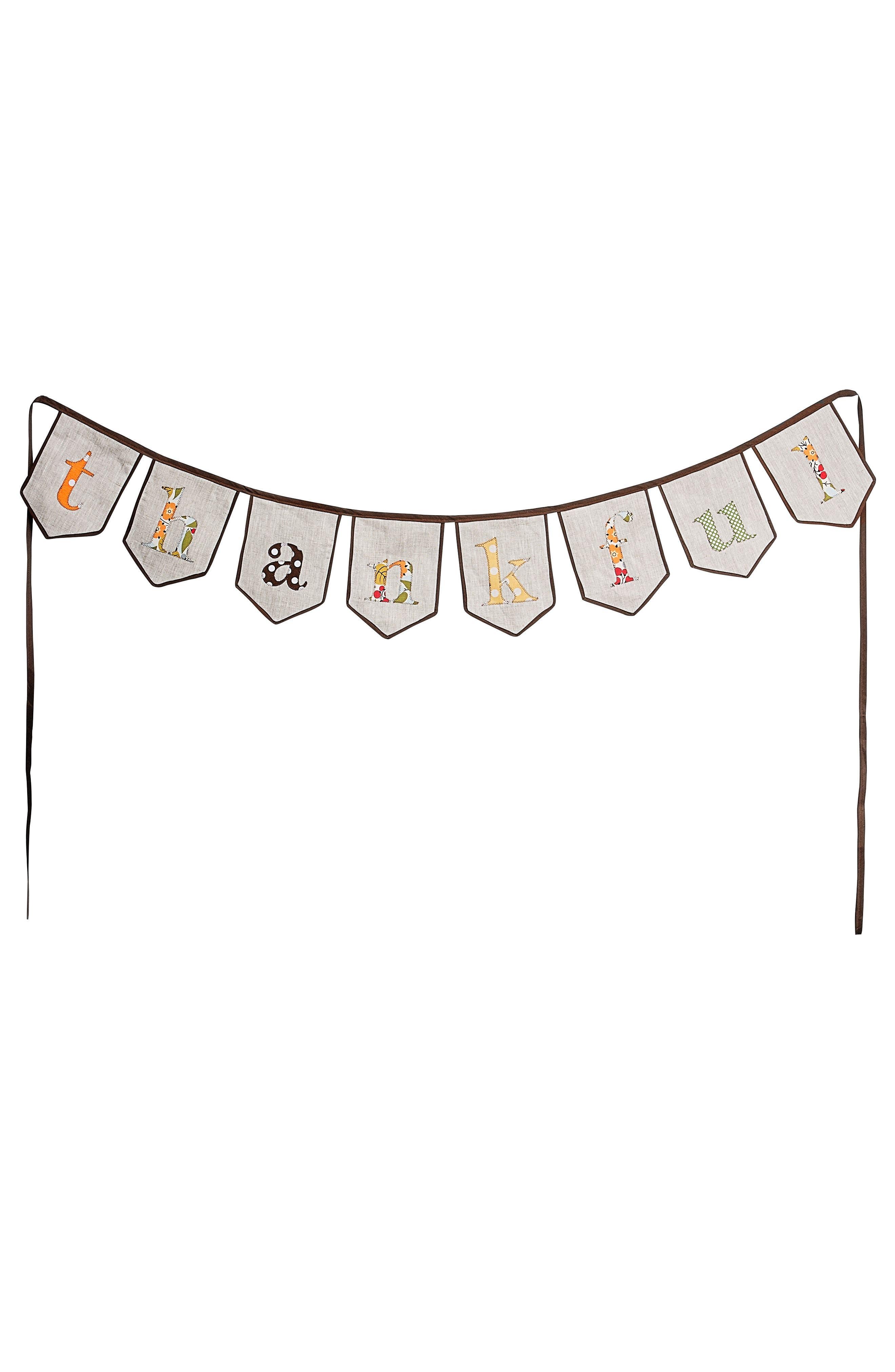 Thankful Burlap Banner,                         Main,                         color, Brown/ Cream